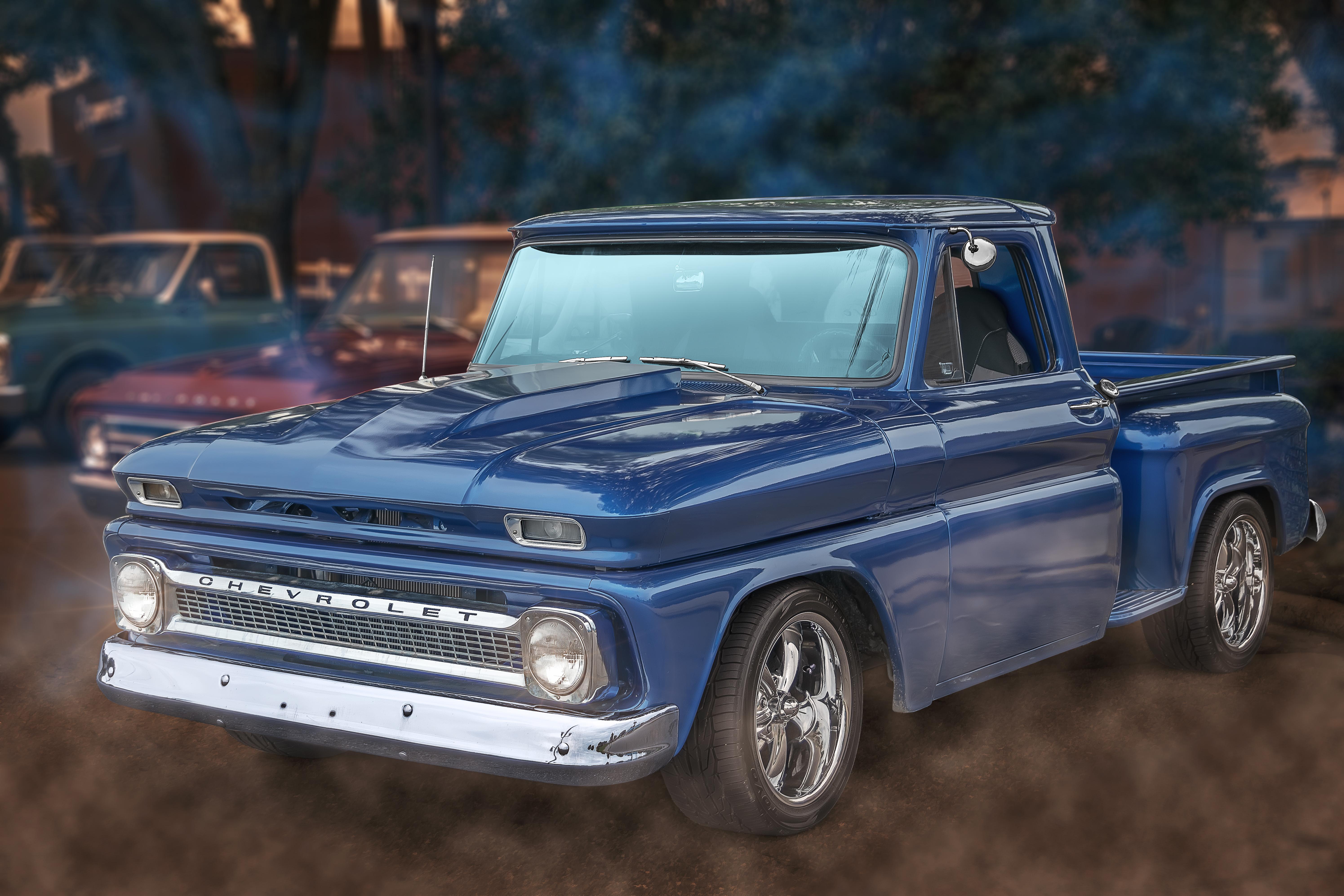 Usa American Clic Truck Automotive Photography Portrait Blue Pickup Car Photo Show