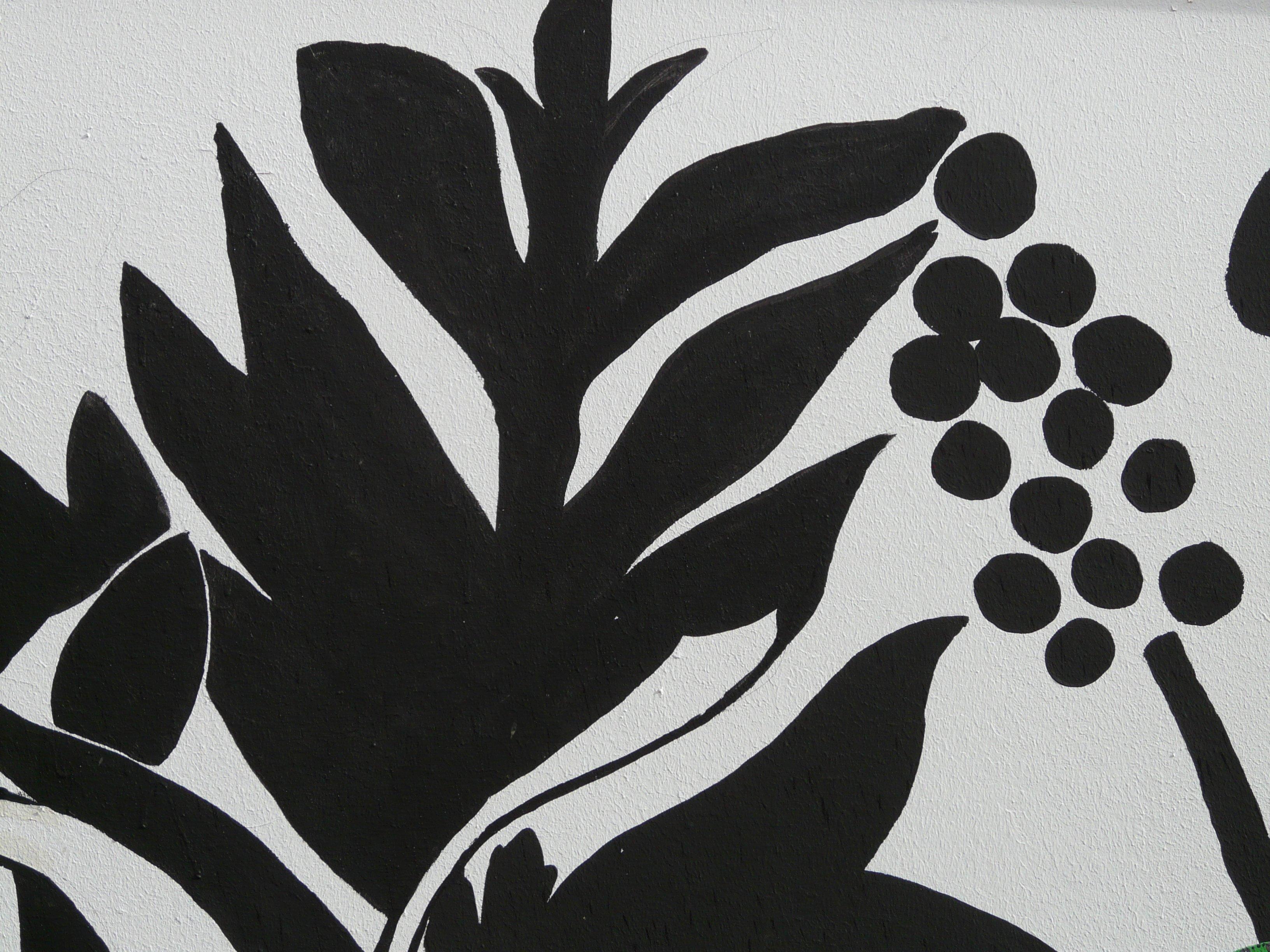 Gambar Abstrak Hitam Dan Putih Menanam Daun Bunga