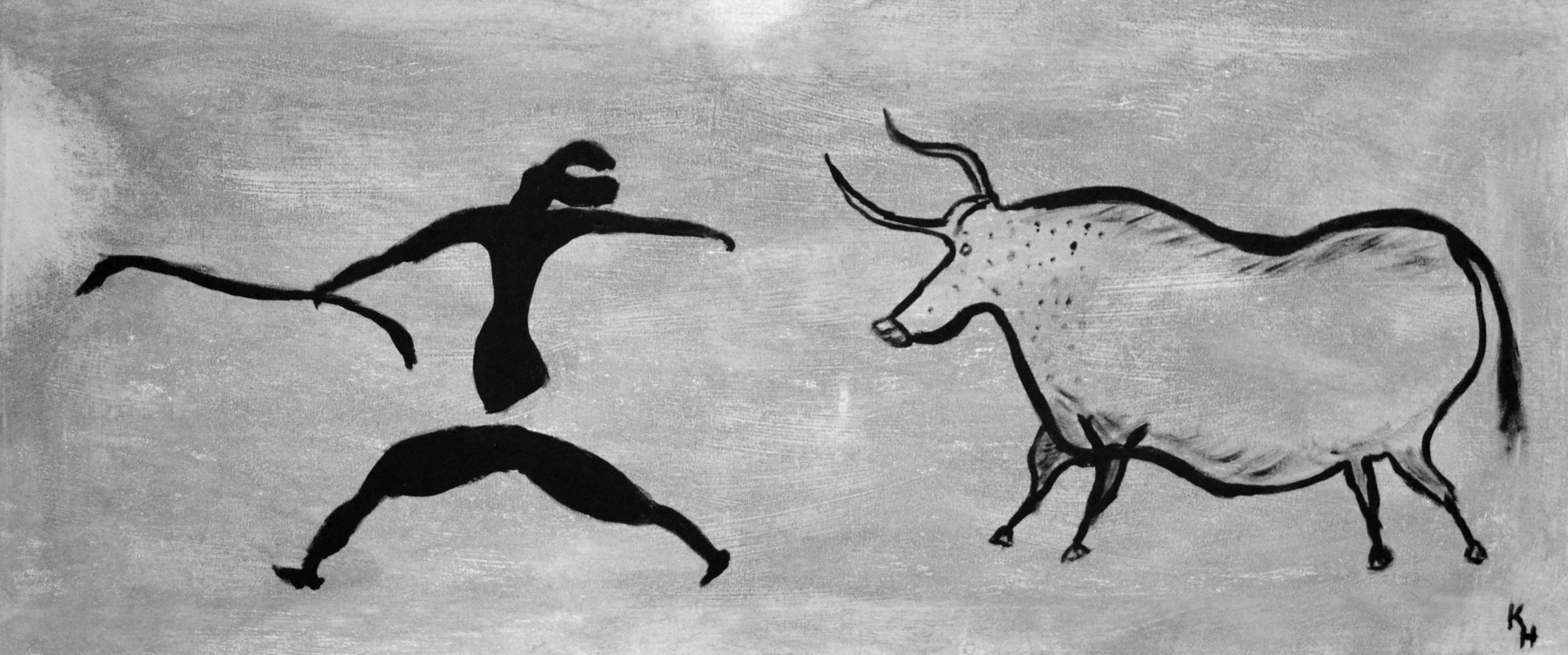 Gambar Abstrak Hitam Dan Putih Menjalankan Hewan