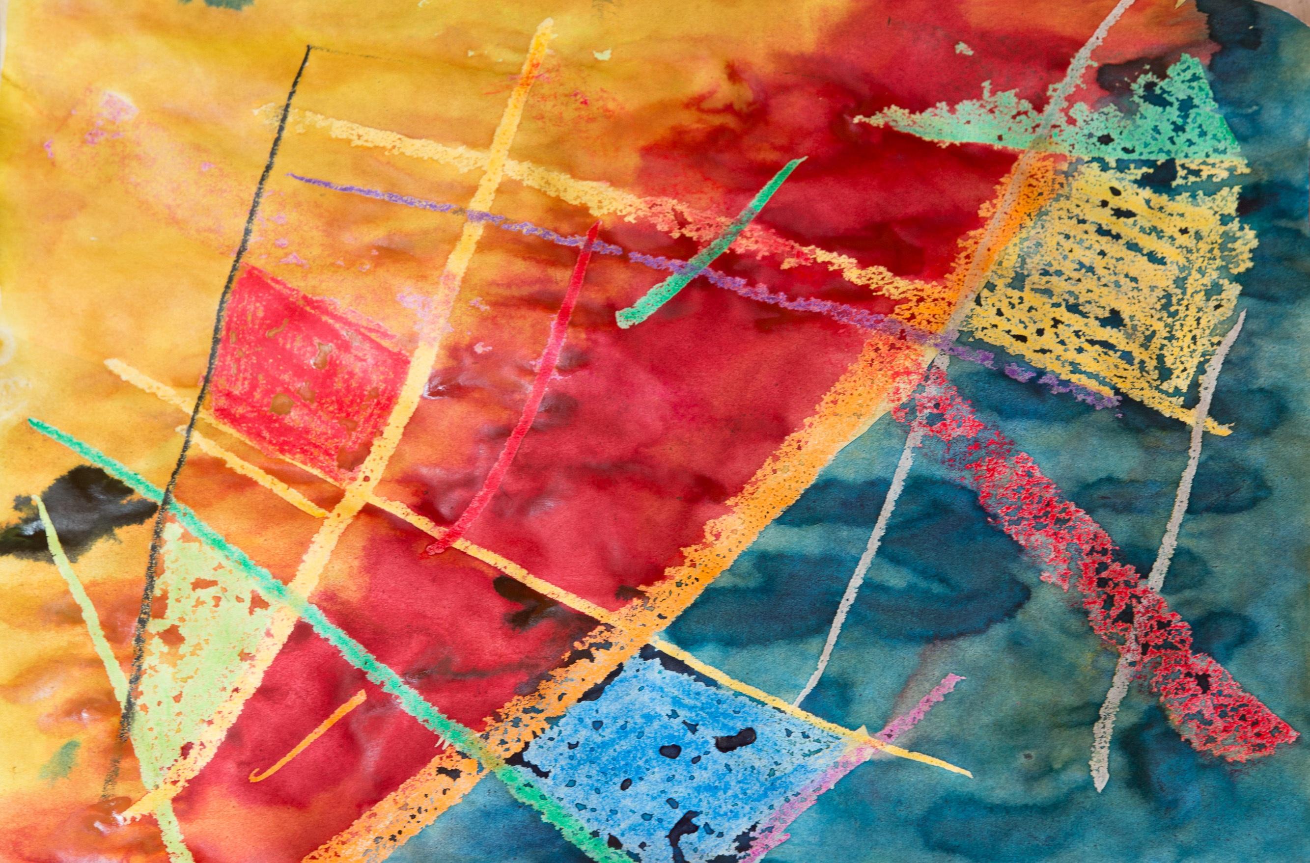 Gambar Abstrak Struktur Pola Merah Biru Warna Warni Kuning