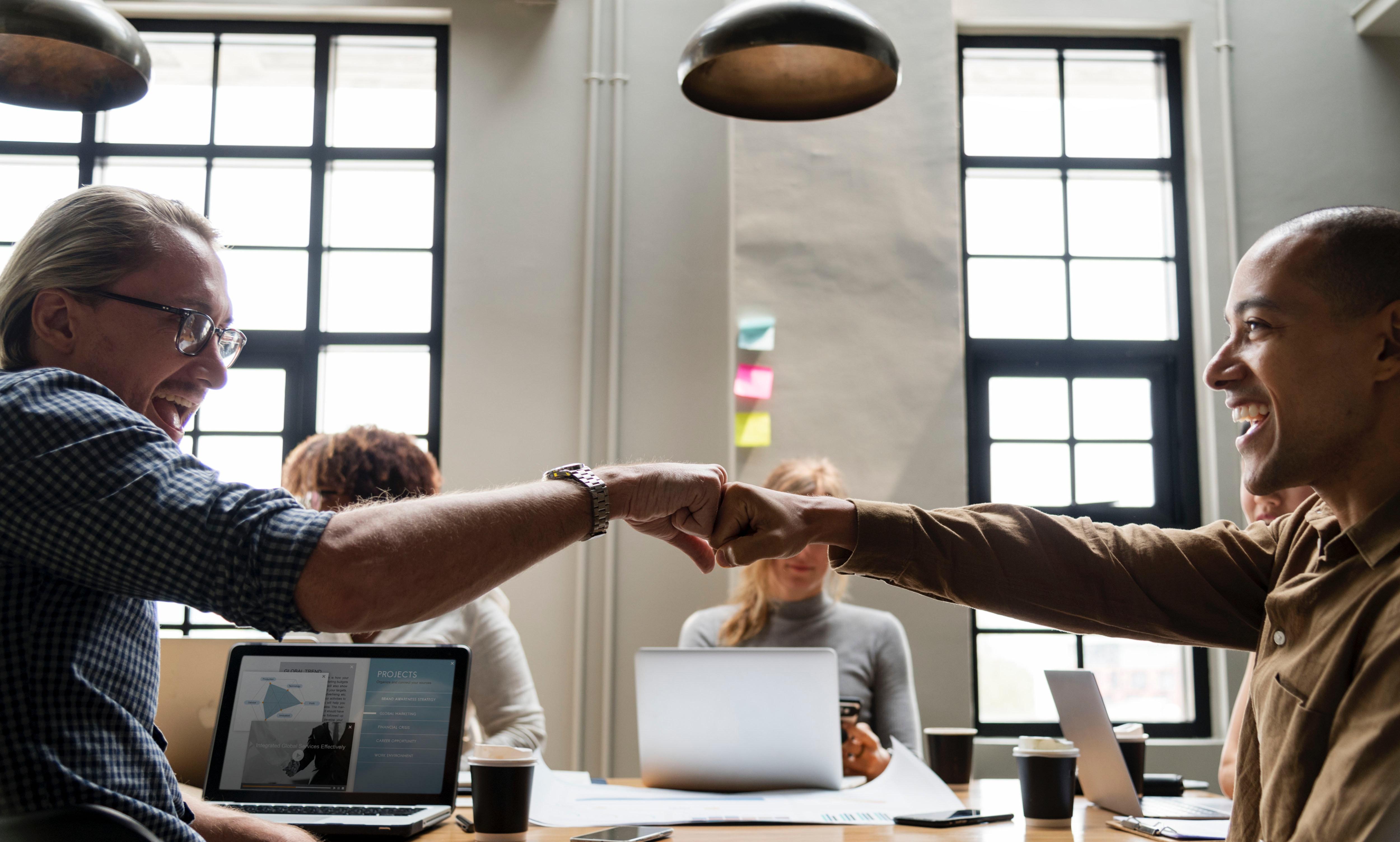 Free Images : achievement, adults, agreement, arms, collaboration,  colleagues, communication, computers, connection, desk, facial expression,  fist bump, ...