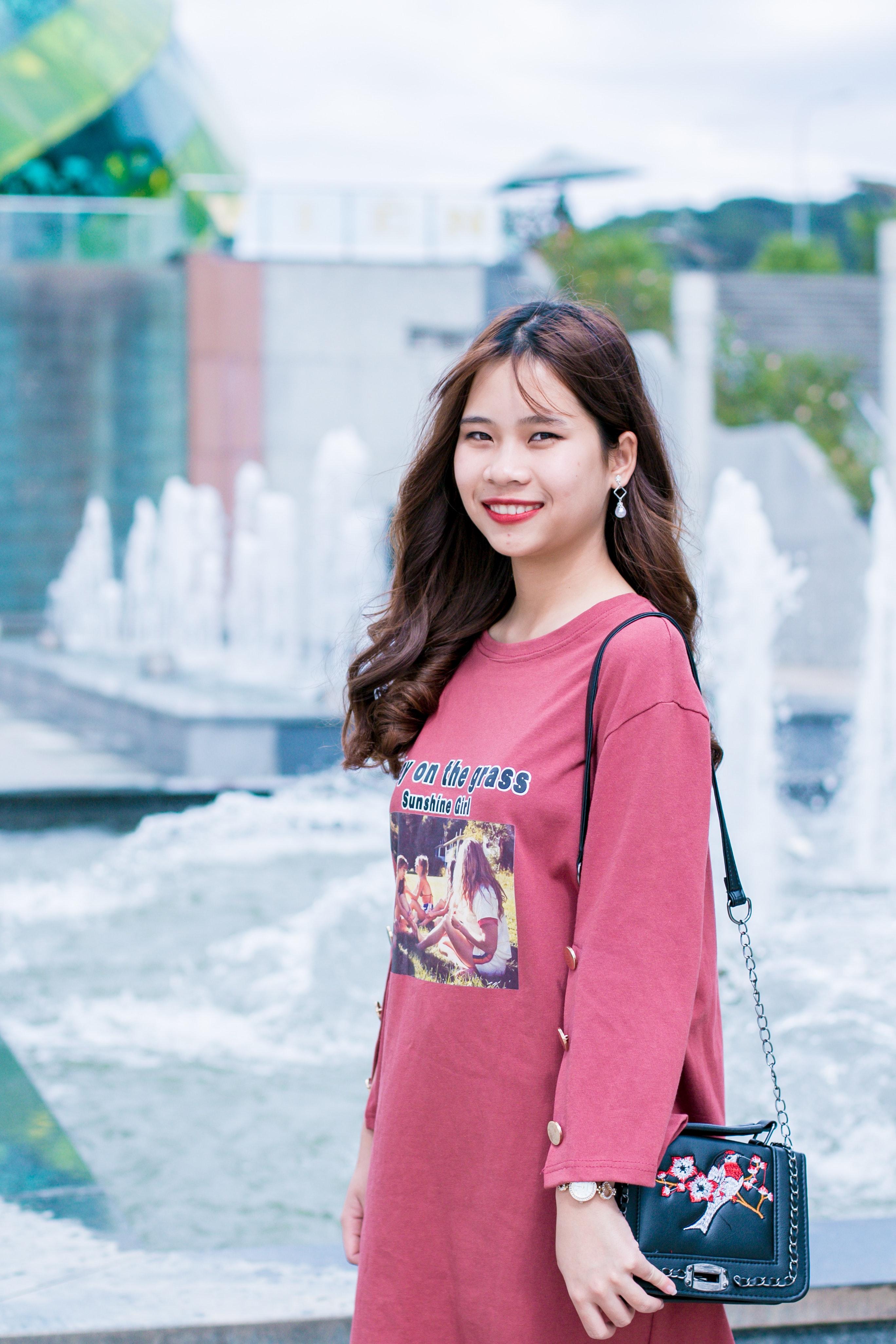 Free Images Adorable Adult Bag Beautiful Colorful Cute Daylight Dress Enjoyment Fashion Female Focus Fountain Fun Girl Joy Leisure Model