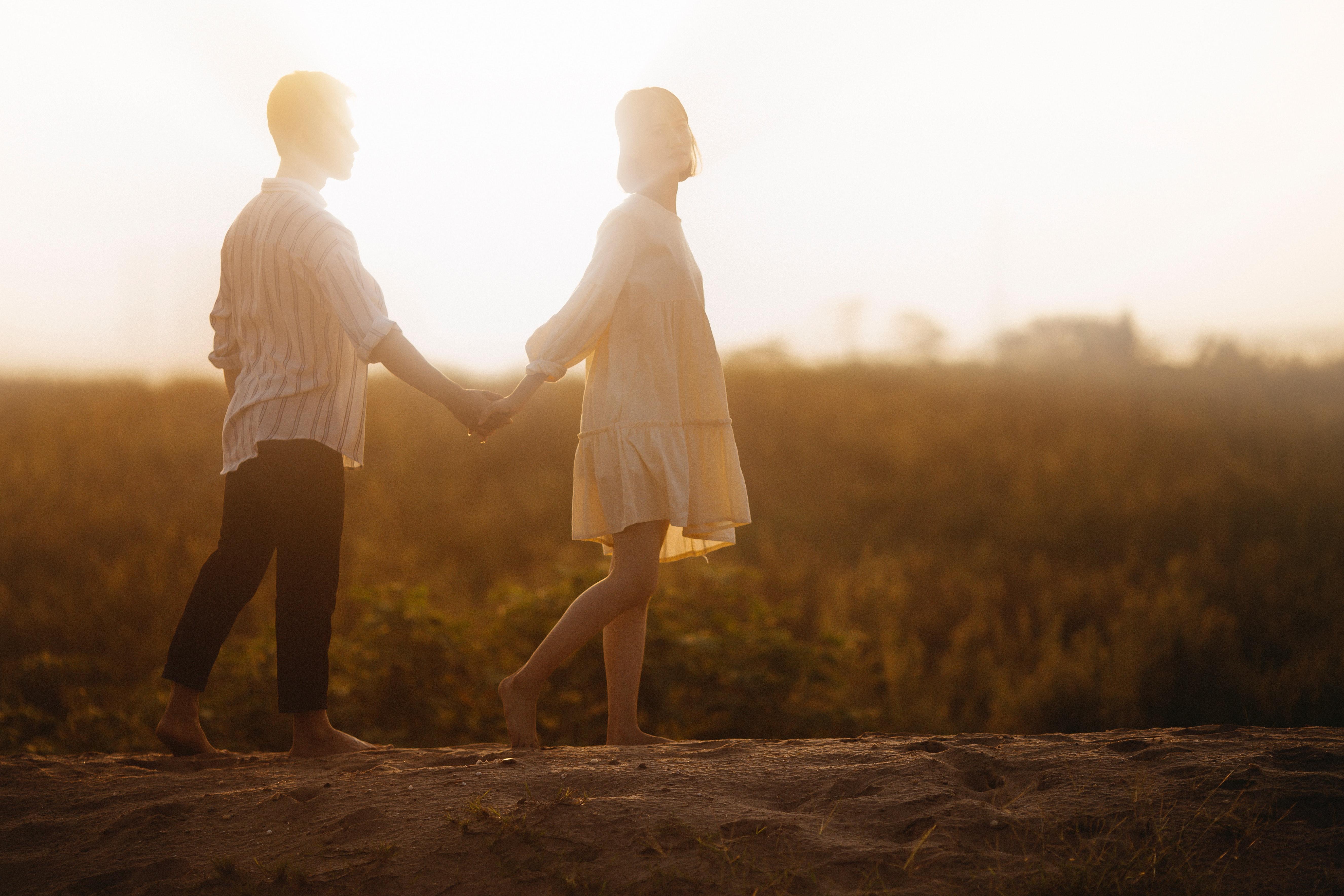 Free Images Adult Backlit Barefoot Couple Daytime