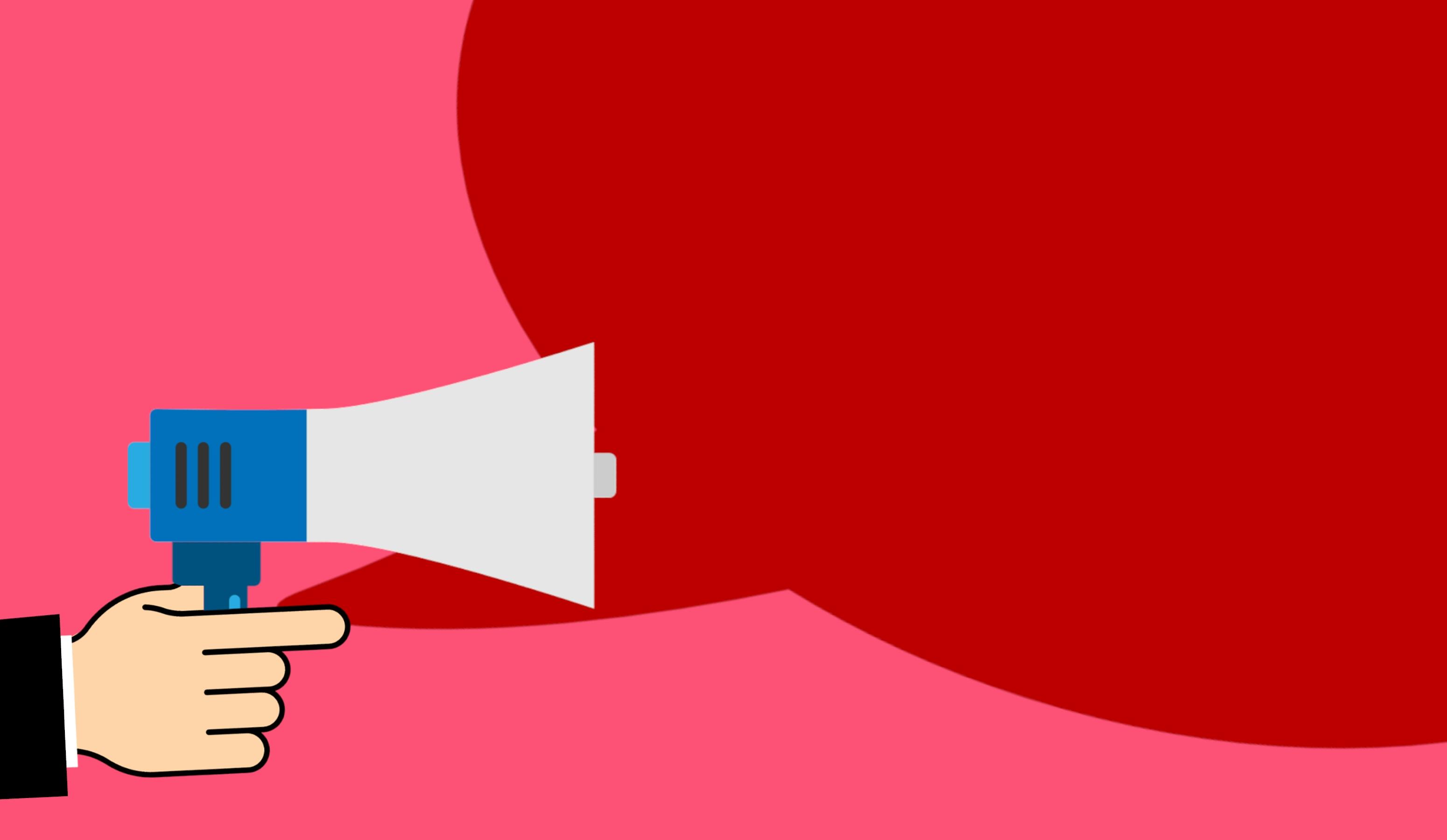 publicité Conseil annoncer bulle la communication Entreprise information direction commercialisation Mégaphone message public Parlant discours parlant