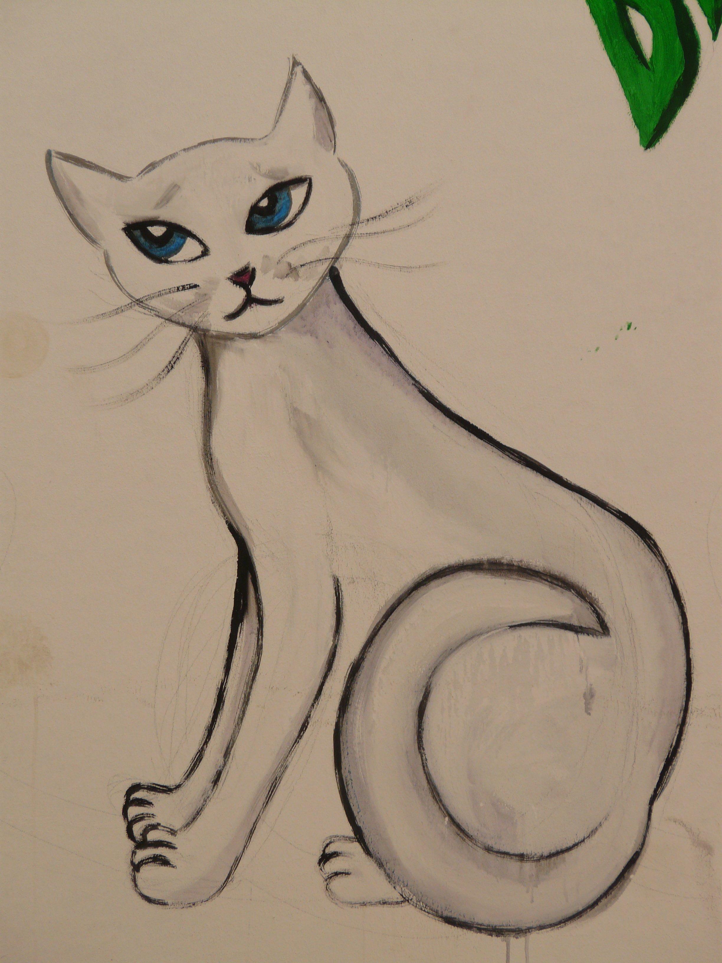 Gambar Hewan Cat Coretan Karya Seni Lukisan Sketsa Ilustrasi