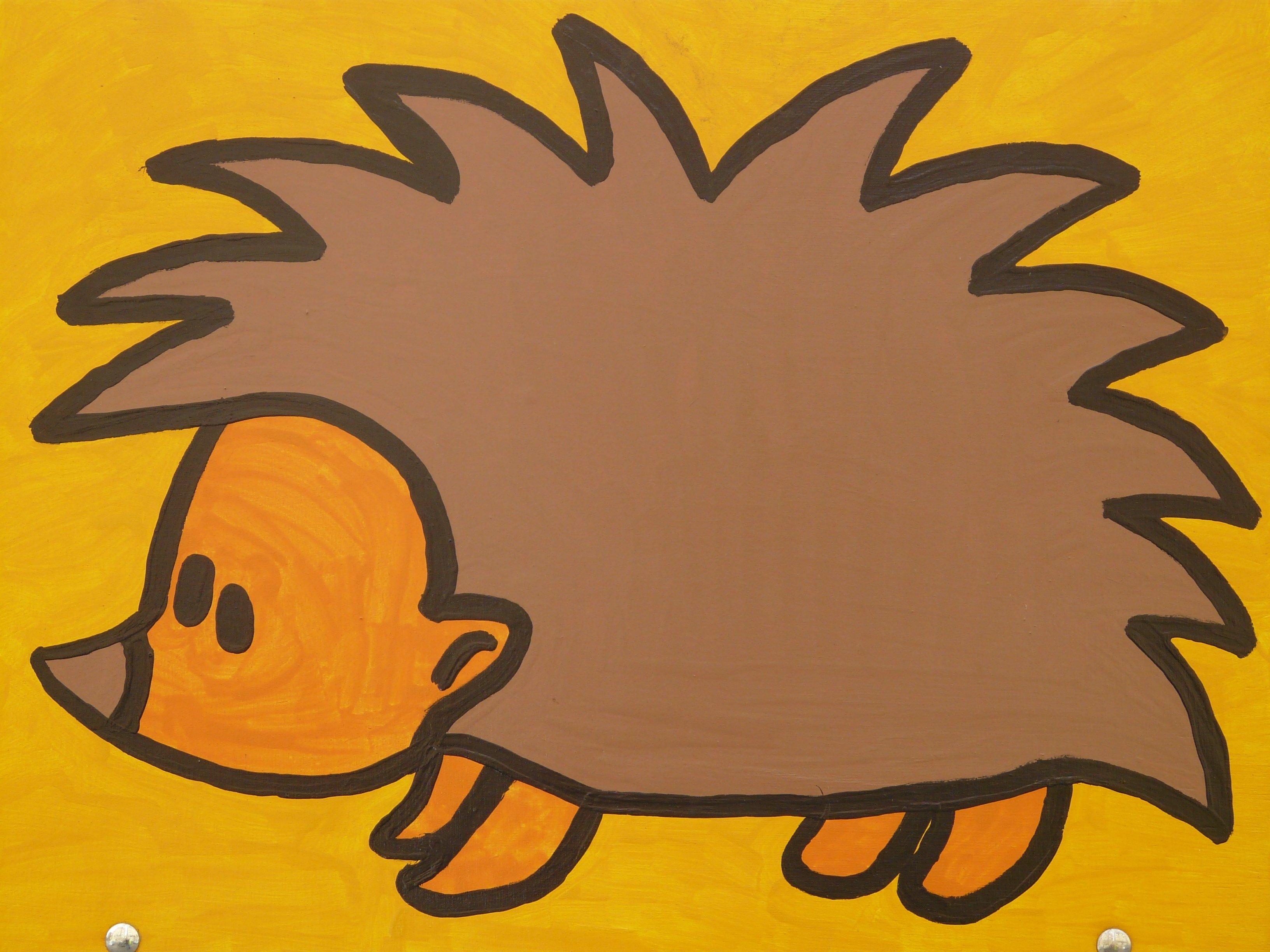 Gambar Hewan Kuning Seni Angka Sketsa Ilustrasi Landak