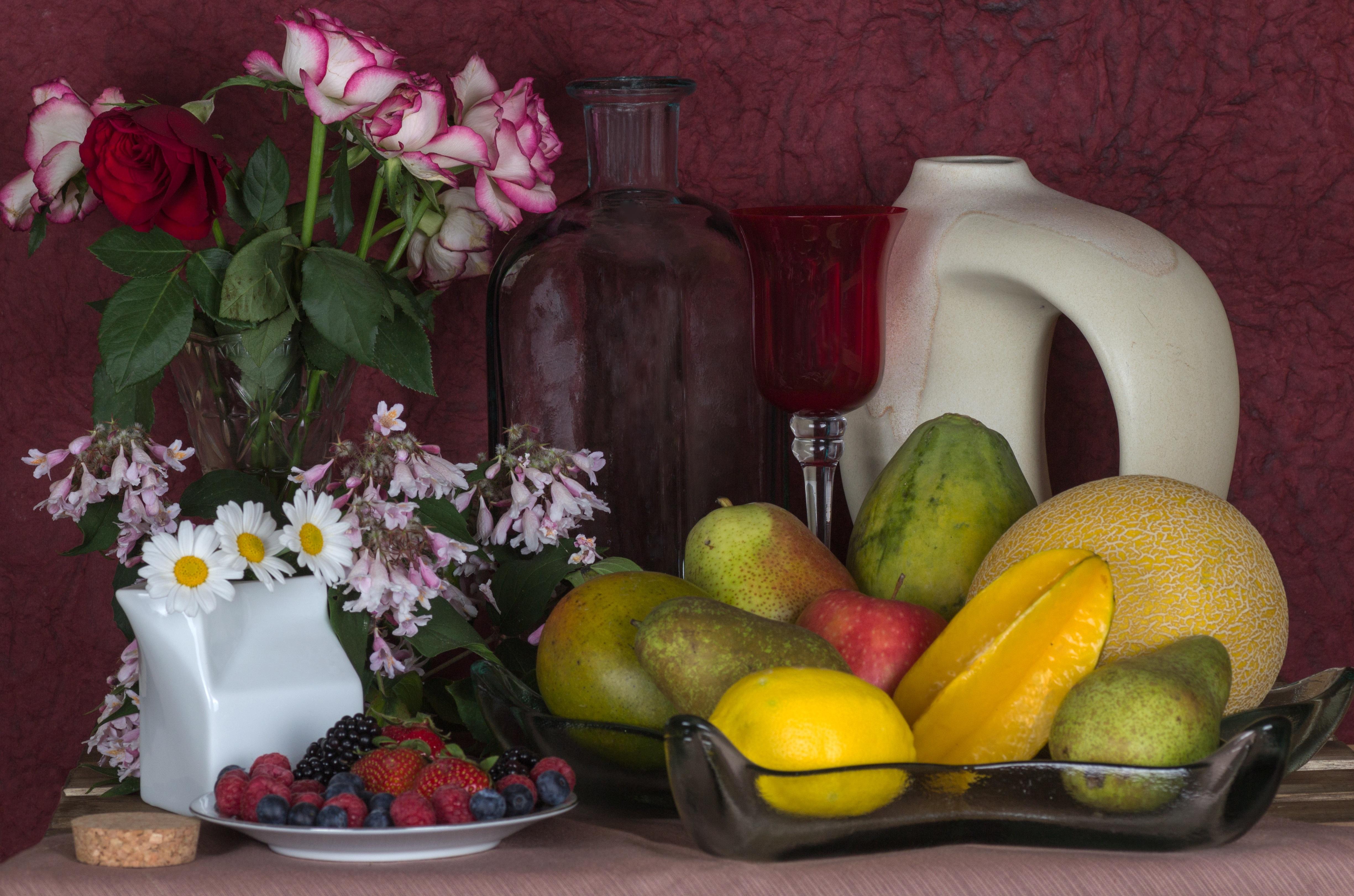 Apple Plant Fruit Flower Meal Food Produce Still Life Artwork Painting Flowers Roses Bowl Floristry
