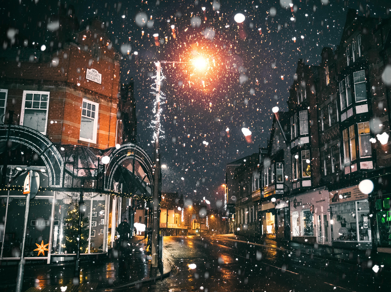 Snowing Christmas Lights.Free Images Architecture Asphalt Blur Buildings