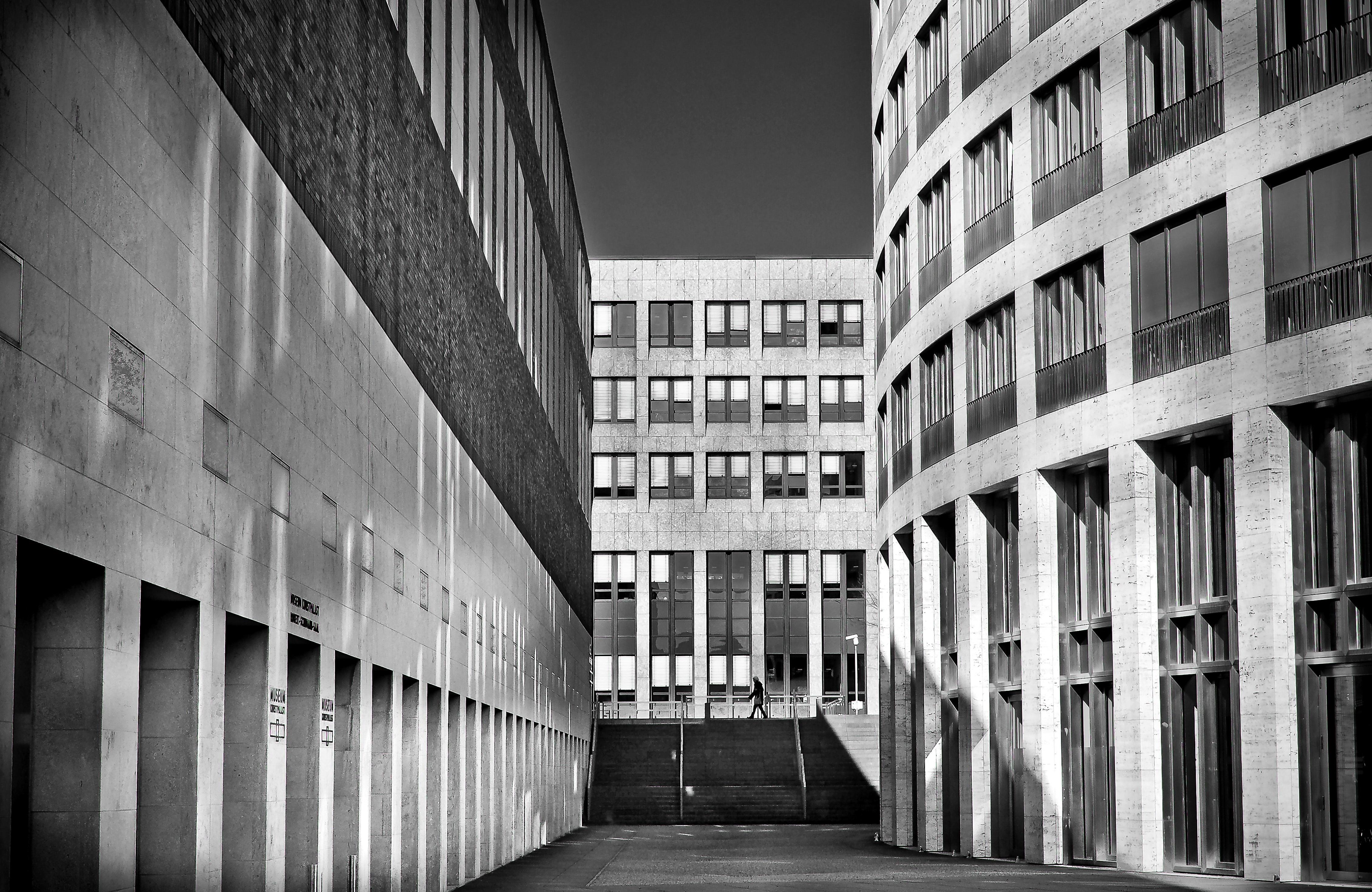 Gambar Arsitektur Hitam Dan Putih Beton Pusat Kota Jendela