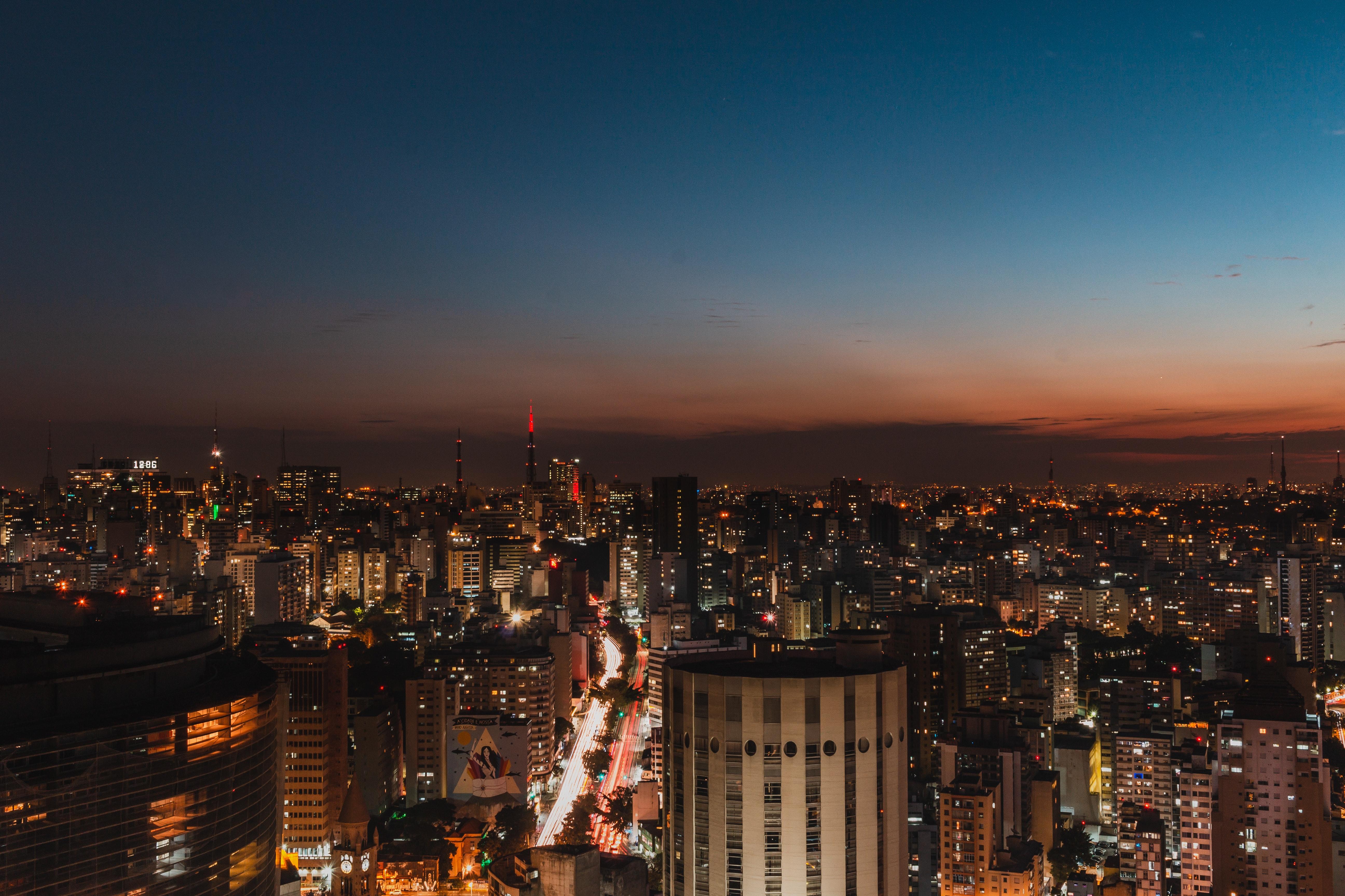 Gambar Arsitektur Bangunan Bisnis Lampu Lampu Kota Pemandangan