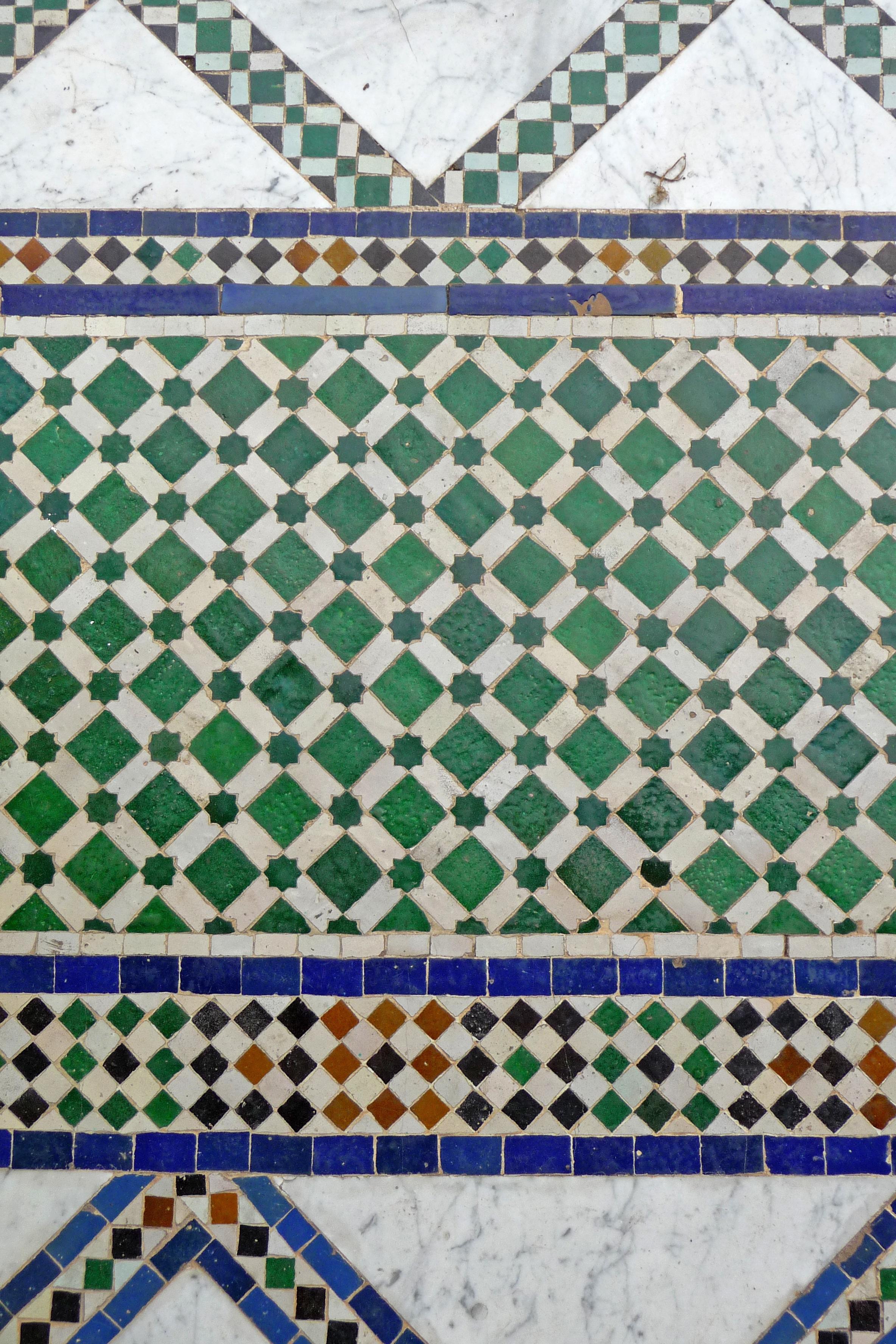 Tourism Material Quilt Patchwork Textile Art Palais Design Symmetry Tiles Marrakech Morocco Bahia Moroccan Arabic Flooring Marrakesh
