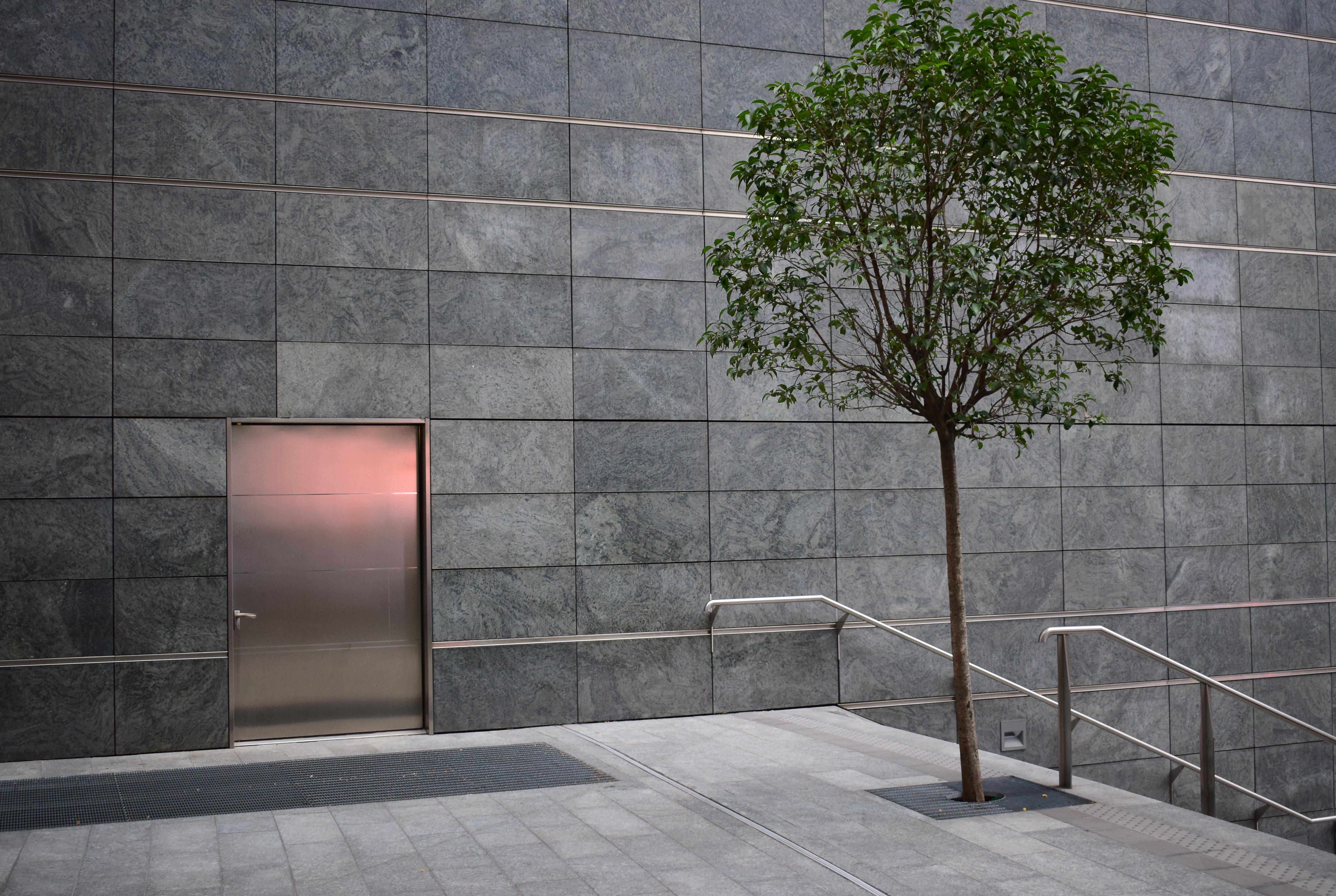 Architecture House Urban Wall Facade Tile Door Interior Design Courtyard  Minimalism Flooring