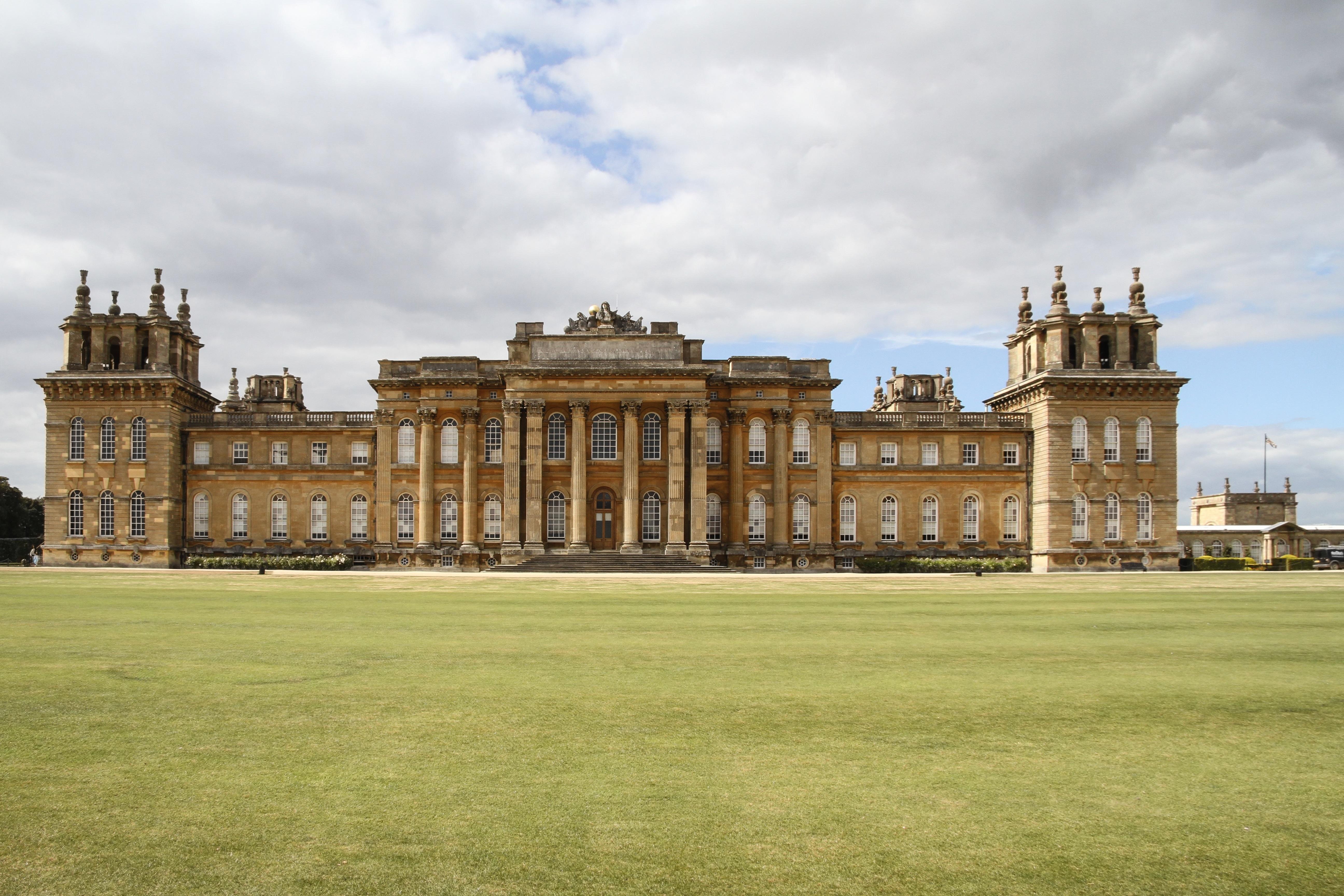 estructura csped palacio edificio castillo punto de referencia herencia mundial inglaterra inmuebles oxfordshire casa seorial woodstock