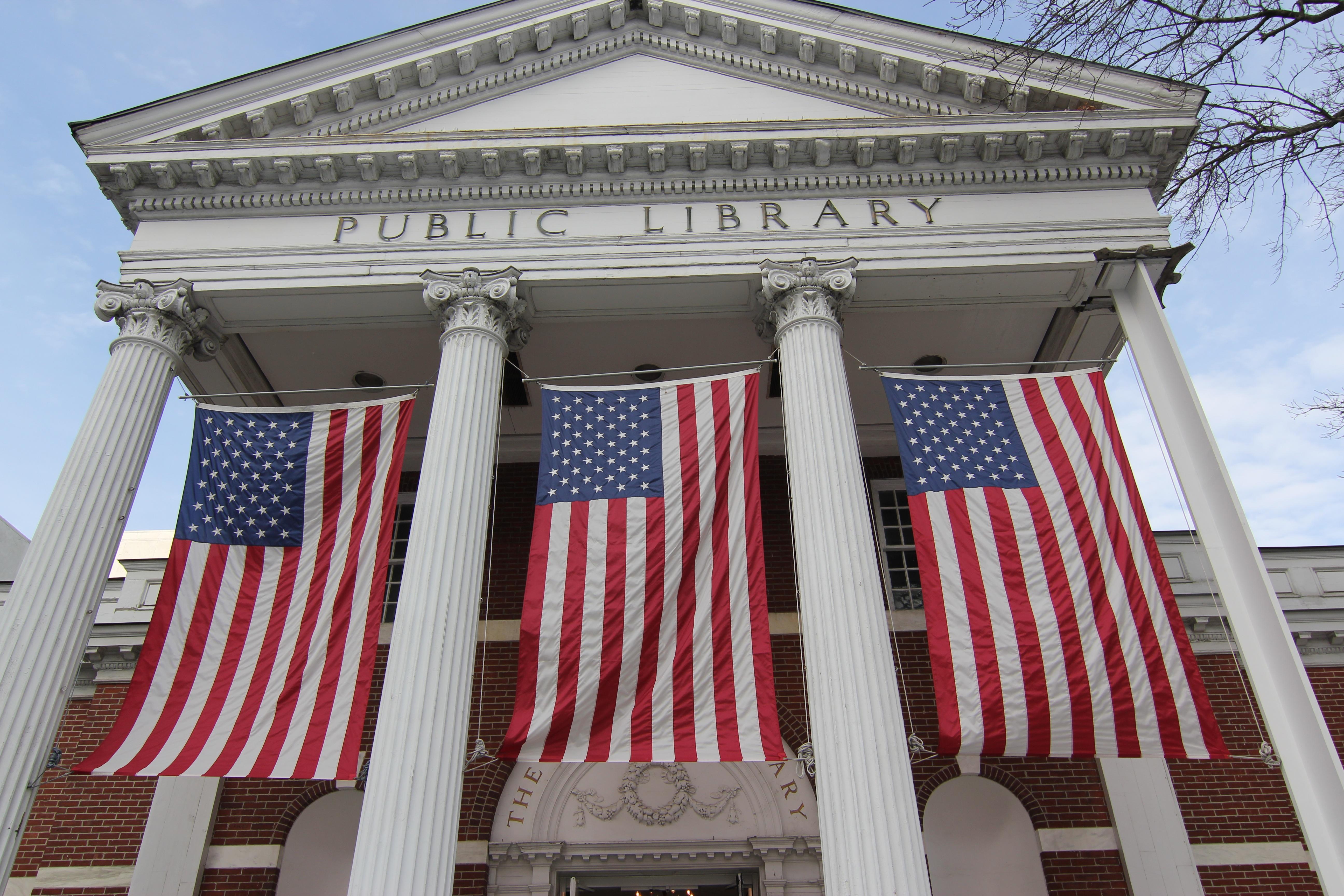 estructura palacio fachada diseo de interiores banderas biblioteca pblica connecticut edificio publico stamford de