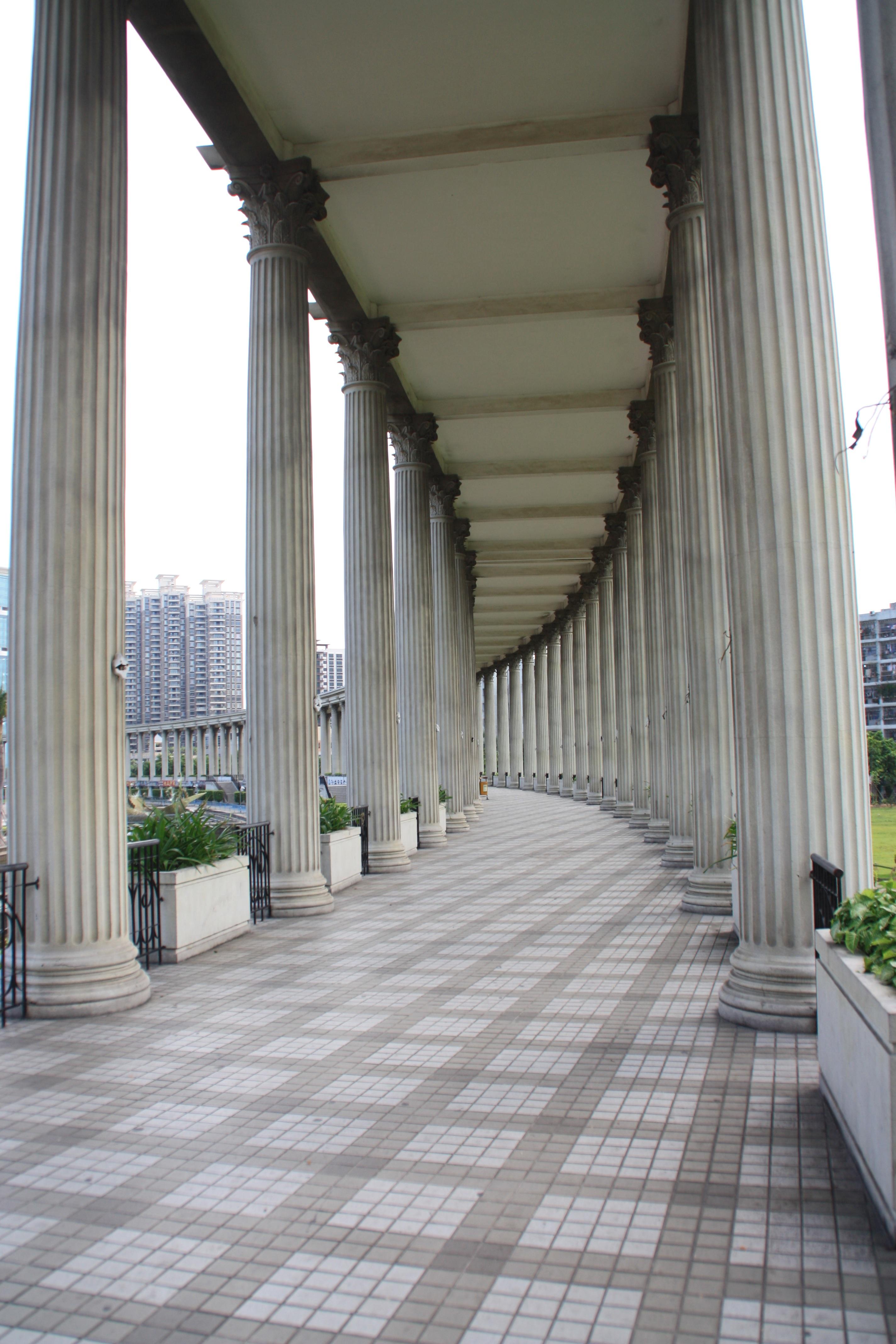 Architecture Structure Wood Walkway Arch Pillar Column Facade Interior Design Estate The Scenery Urban Corridor