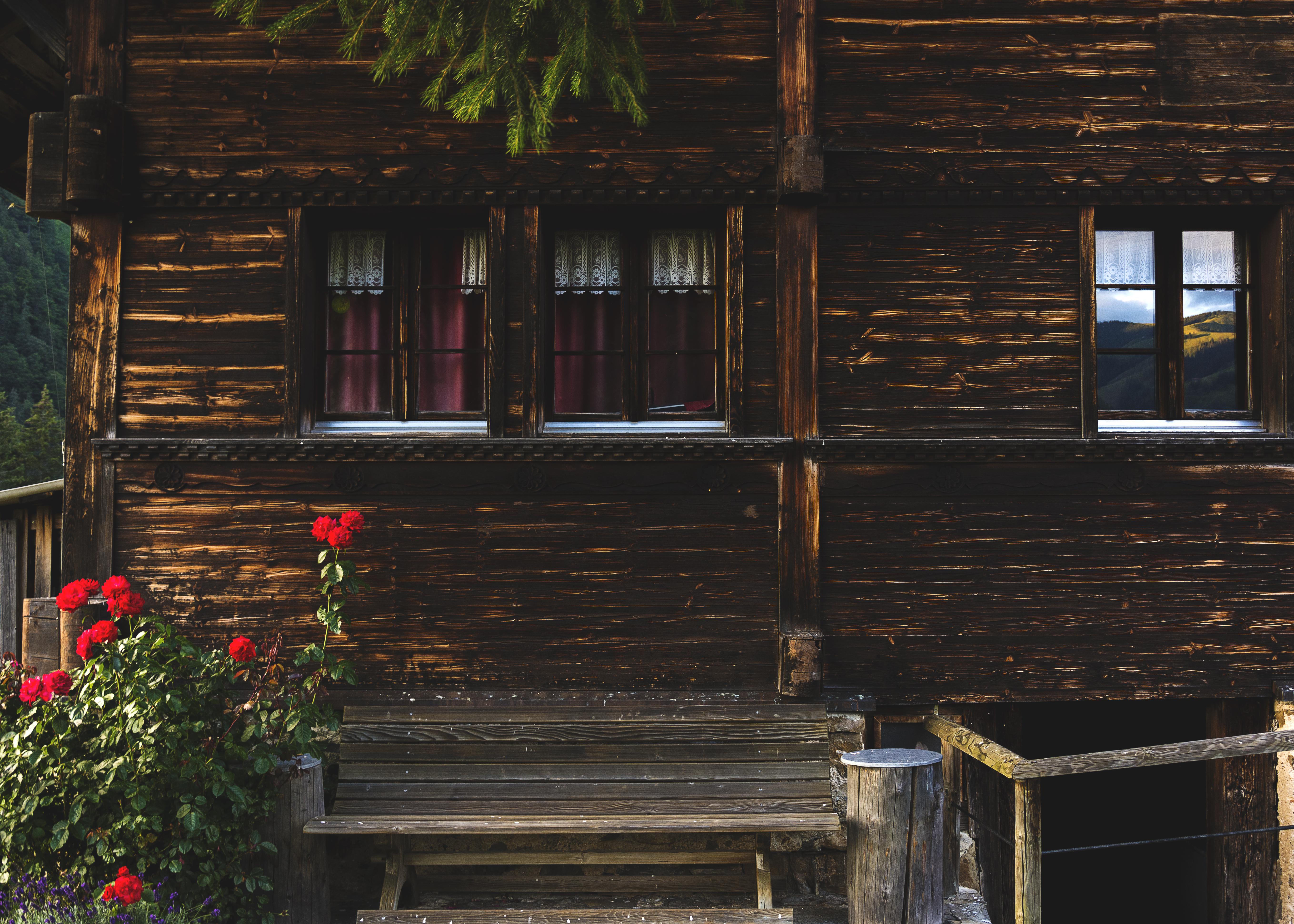 wooden photo bavarian window image alpine idyllic of cottage curtains royalty summer free panels stock