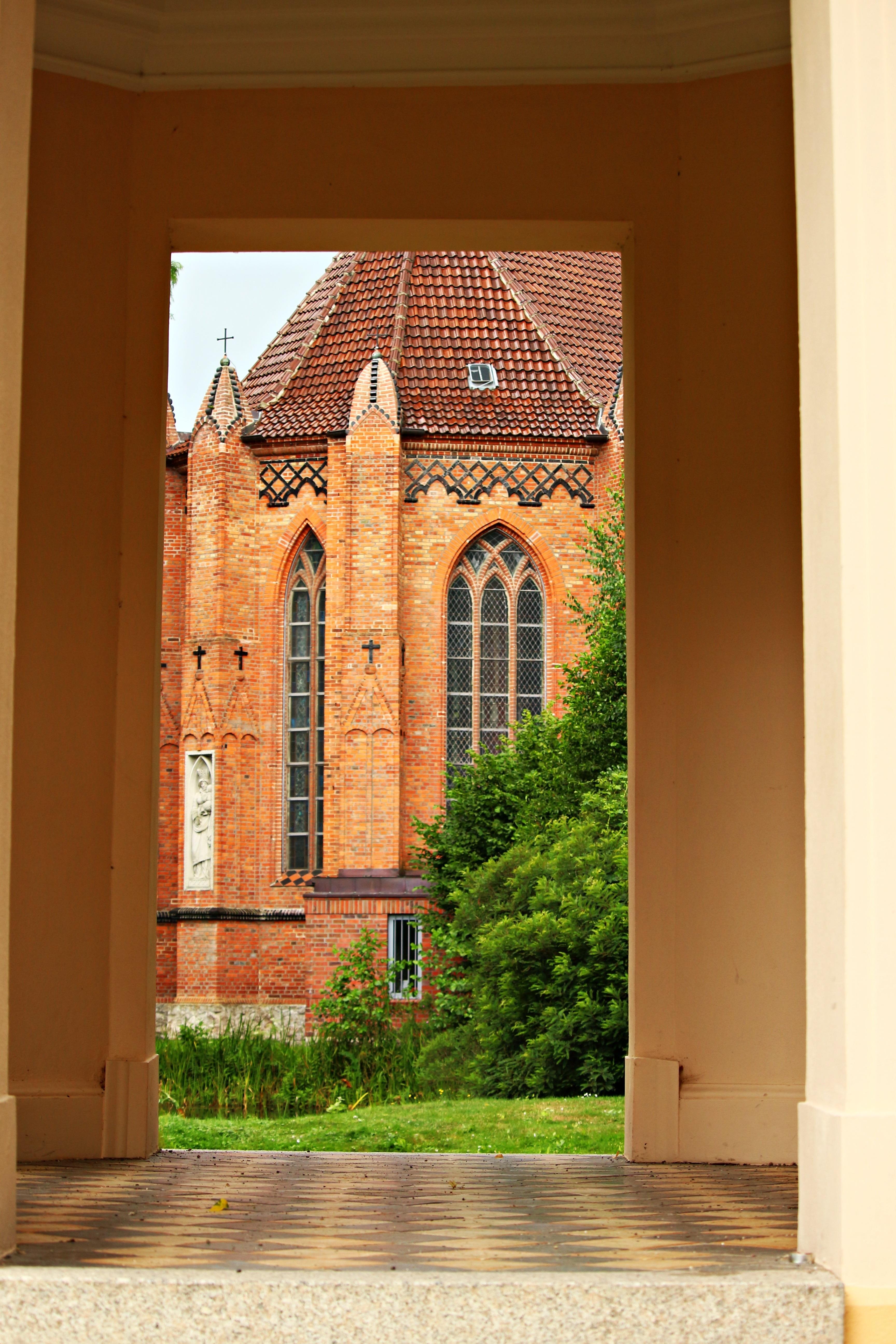 arch facade chapel old building brick door goal place of worship bell tower interior design steeple estate castle park ludwigslust parchim