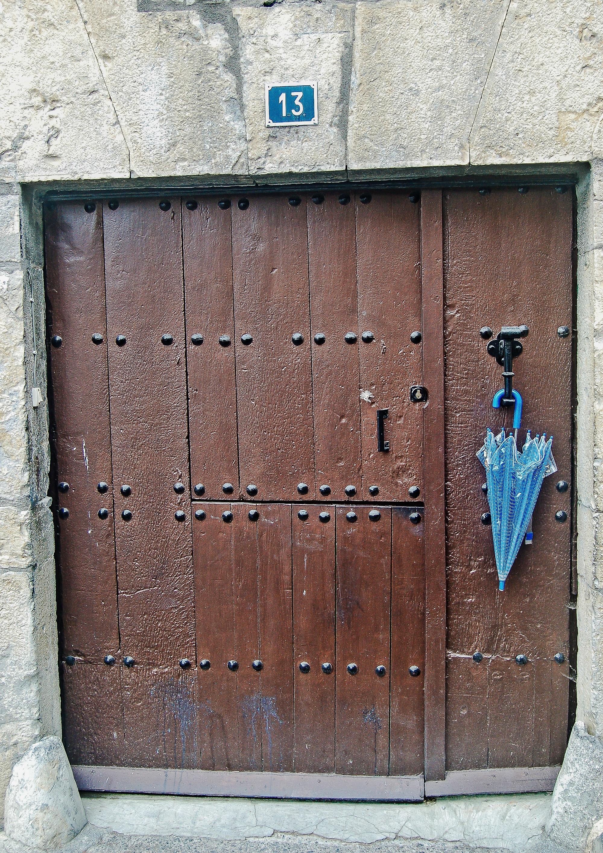 Beautiful Architecture Wood House Window Wall Umbrella Metal Brown Facade Blue Gate  Door Design Input Portal Man