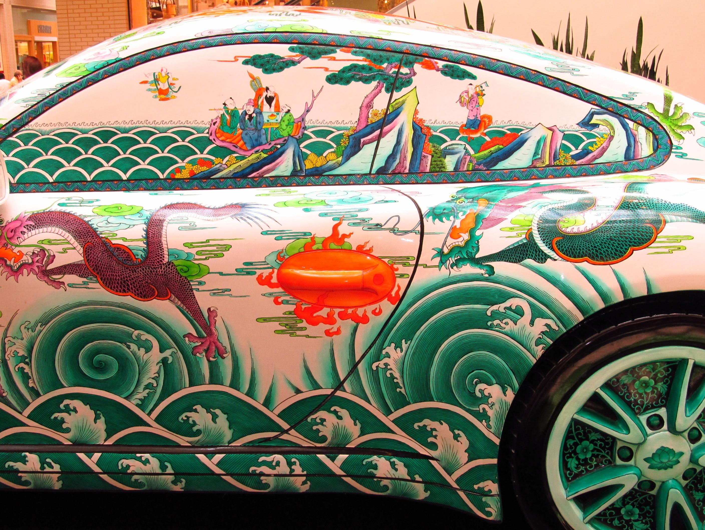 Asian Vehicle Colorful Side View Artwork Painting Art Illustration Mural  Race Track Custom Porsche Oriental Designs