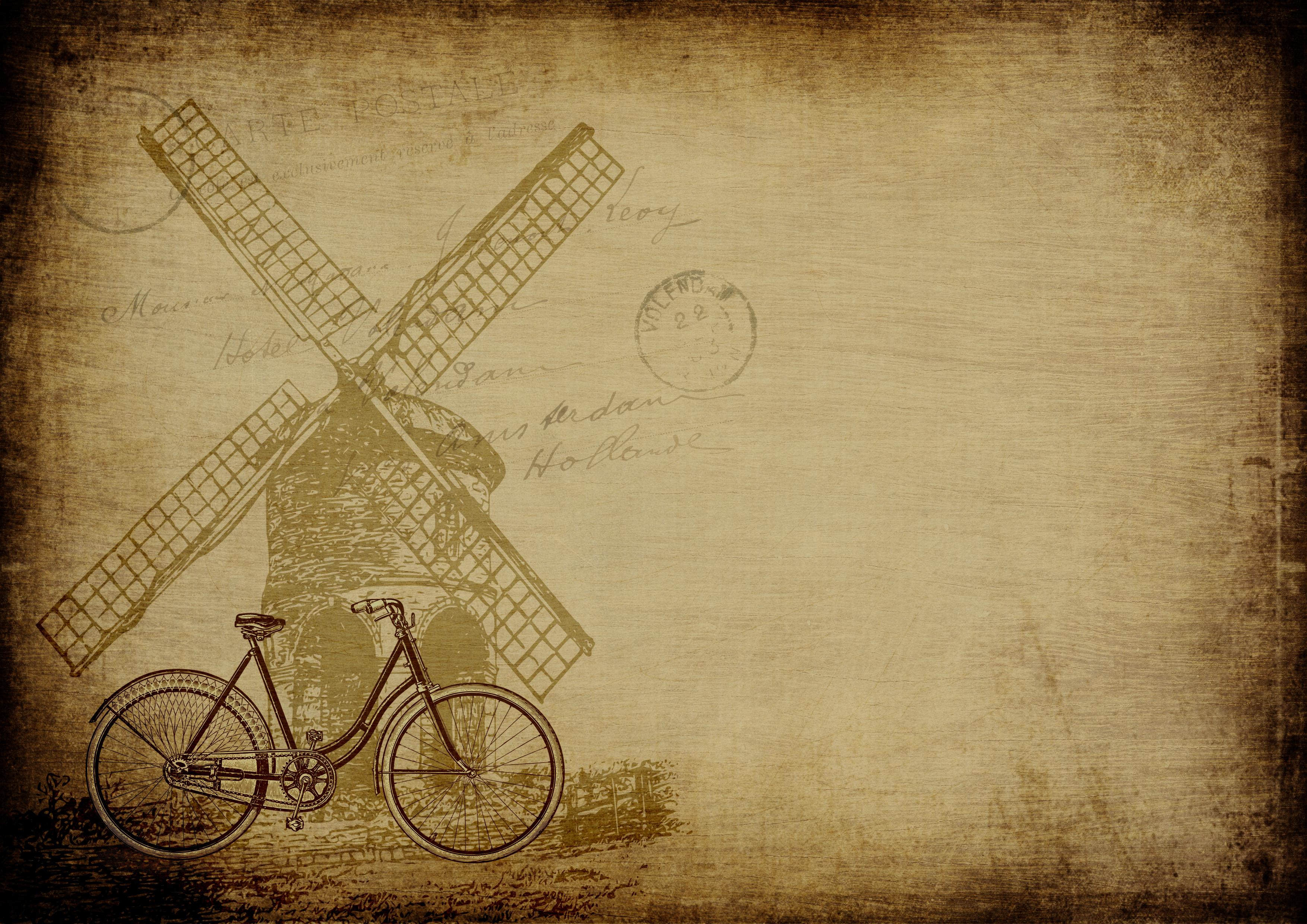 Kostenlose foto : Hintergrund, Fahrrad, Windmühle, Jahrgang, alt ...