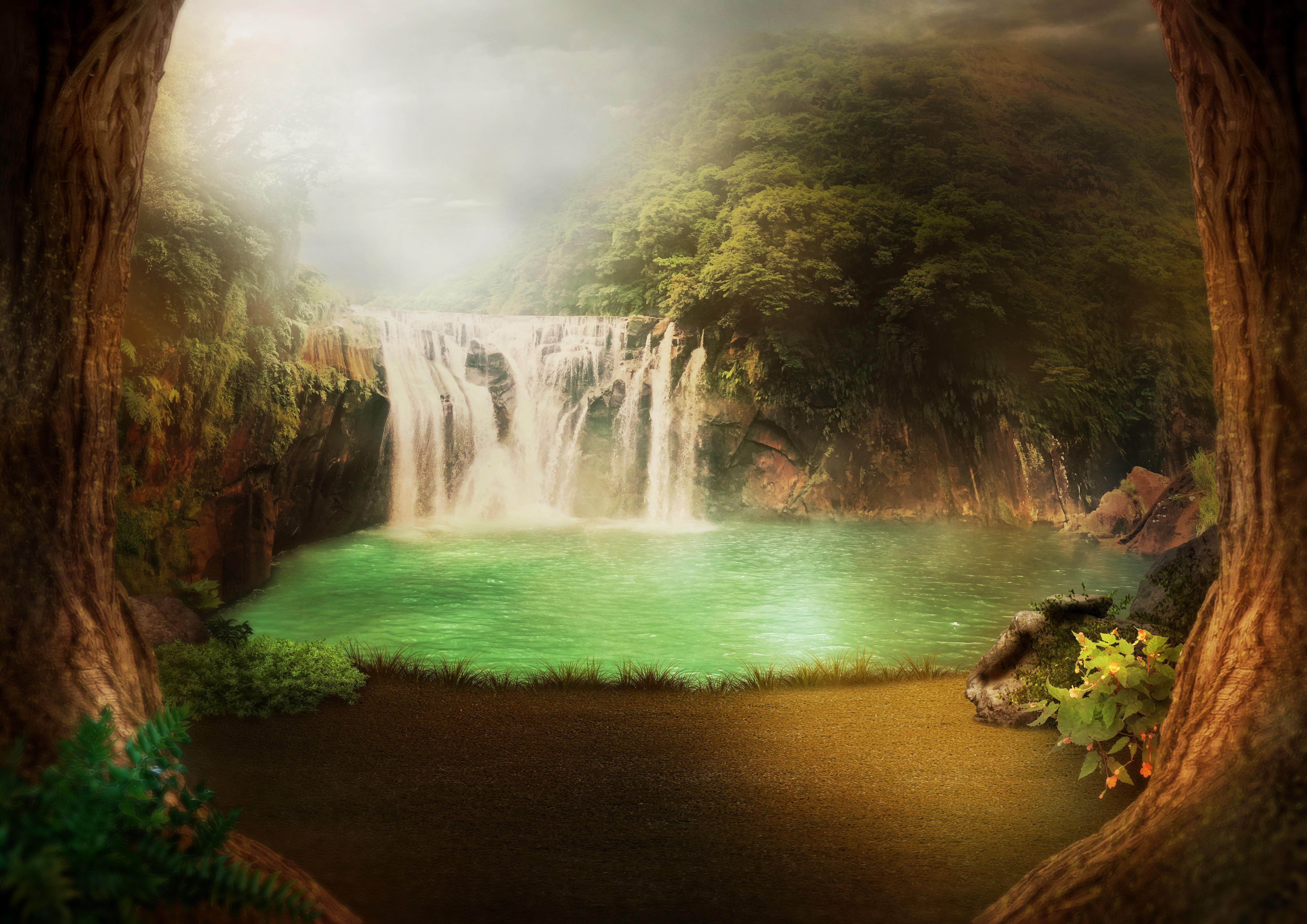 Gratis Afbeeldingen Achtergrond Waterval Oerwoud Meer
