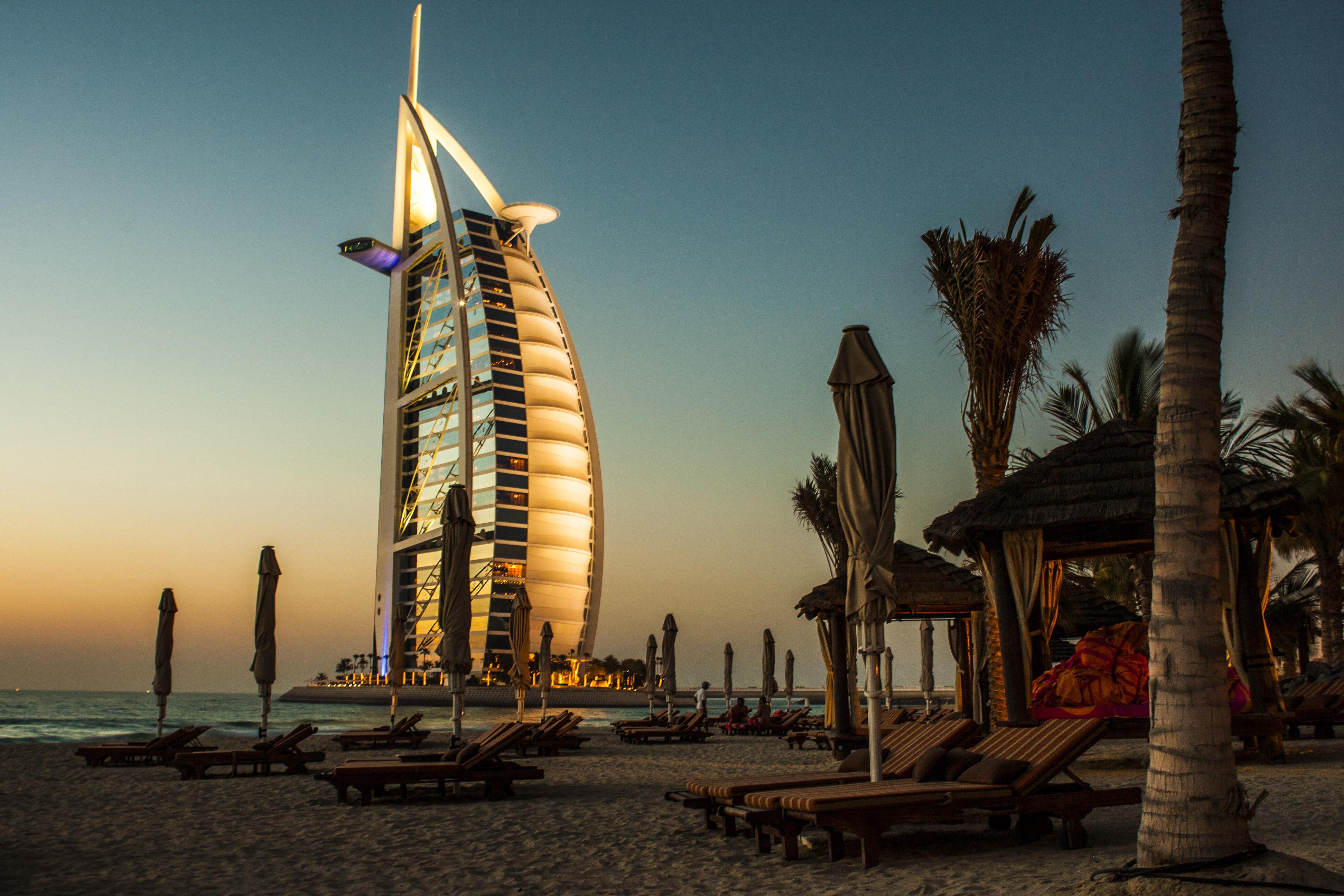 Beach Architecture Sunset Night Skyser Dusk Evening Tower Dubai Landmark Palmtree Publicdomain Luxury Hotel Resort Burjalarab