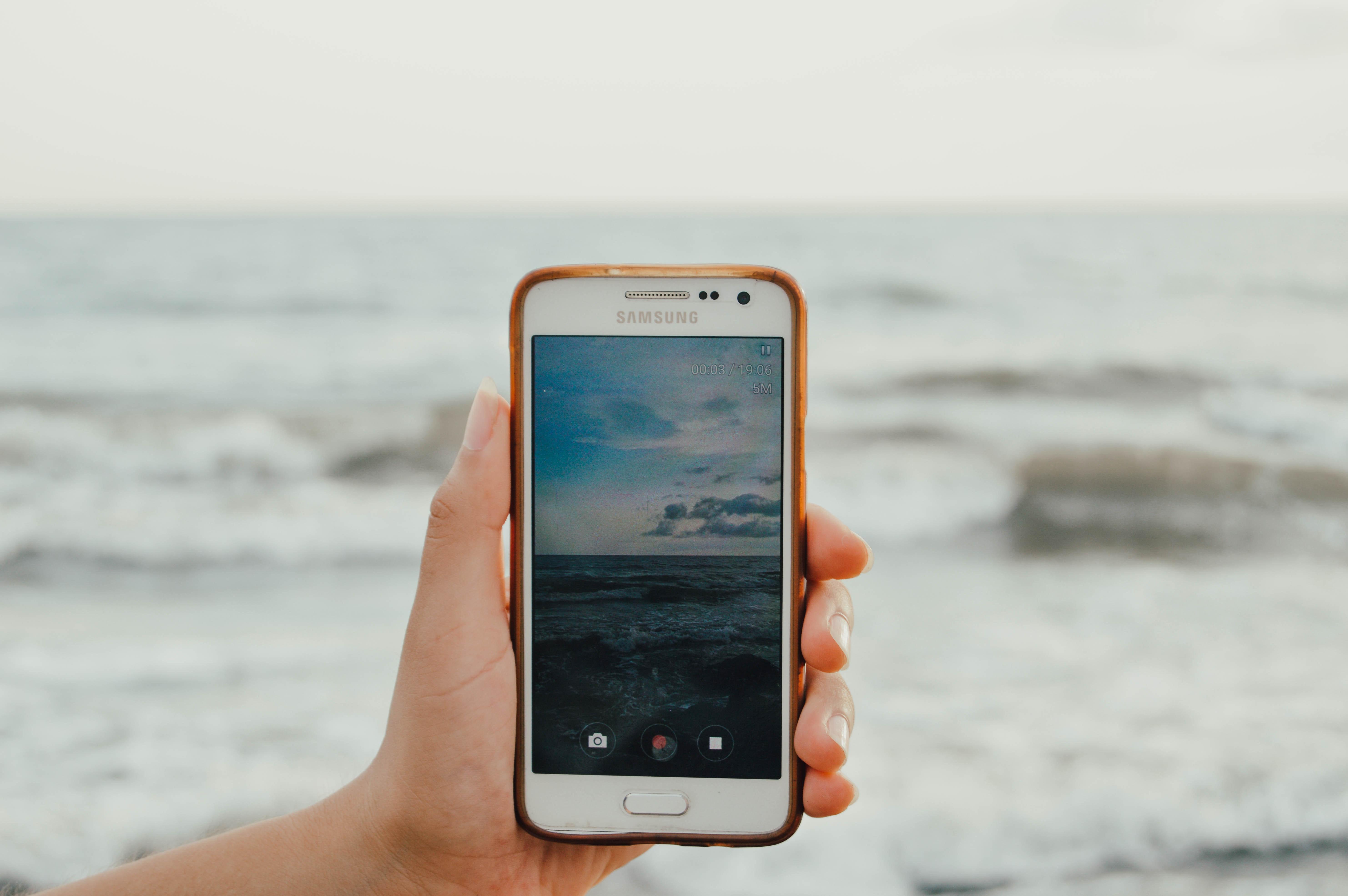 Immagini Belle Spiaggia Cielo Blu Macchina Fotografica Telefono