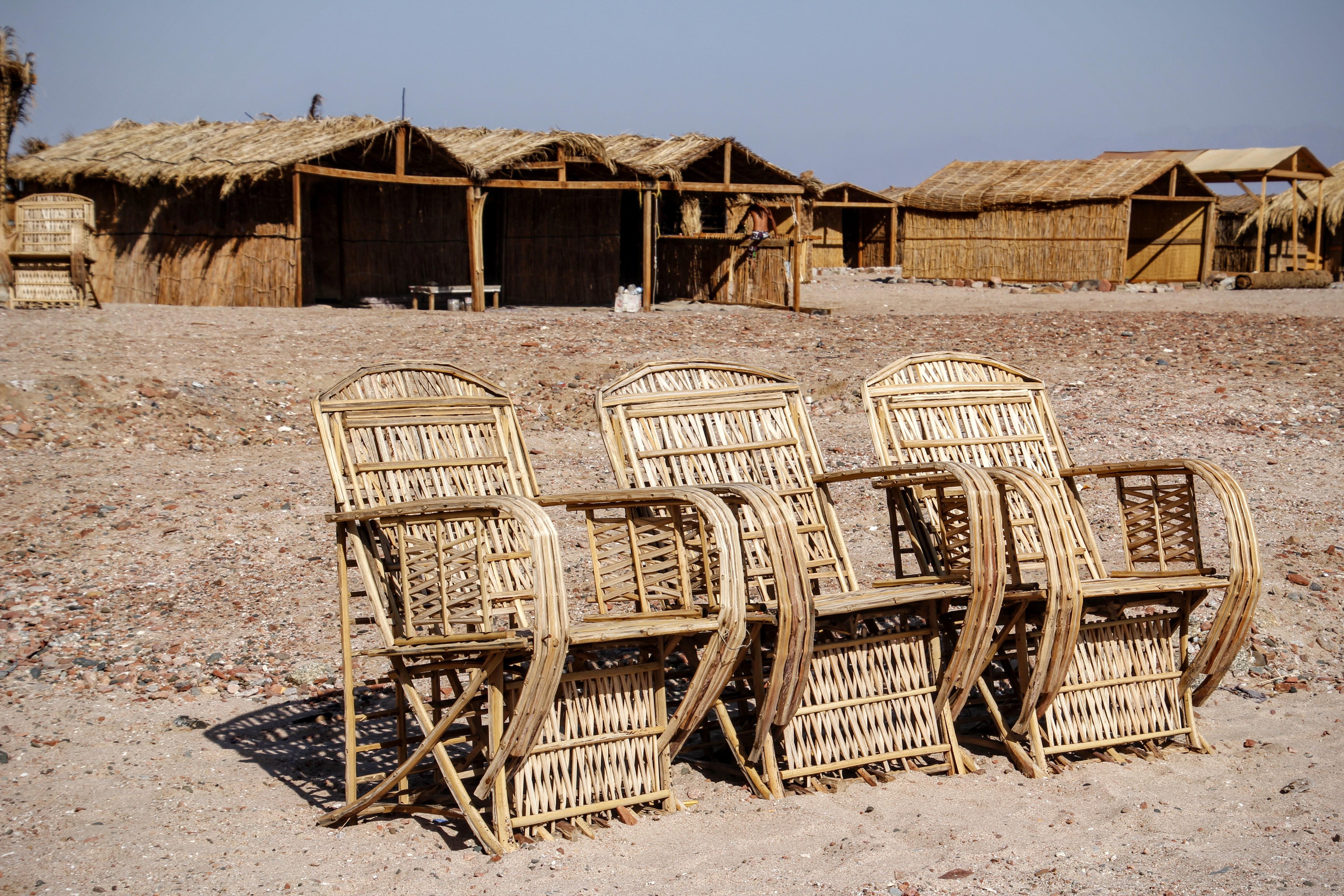 Free beach landscape sand wood sun chair seat hut