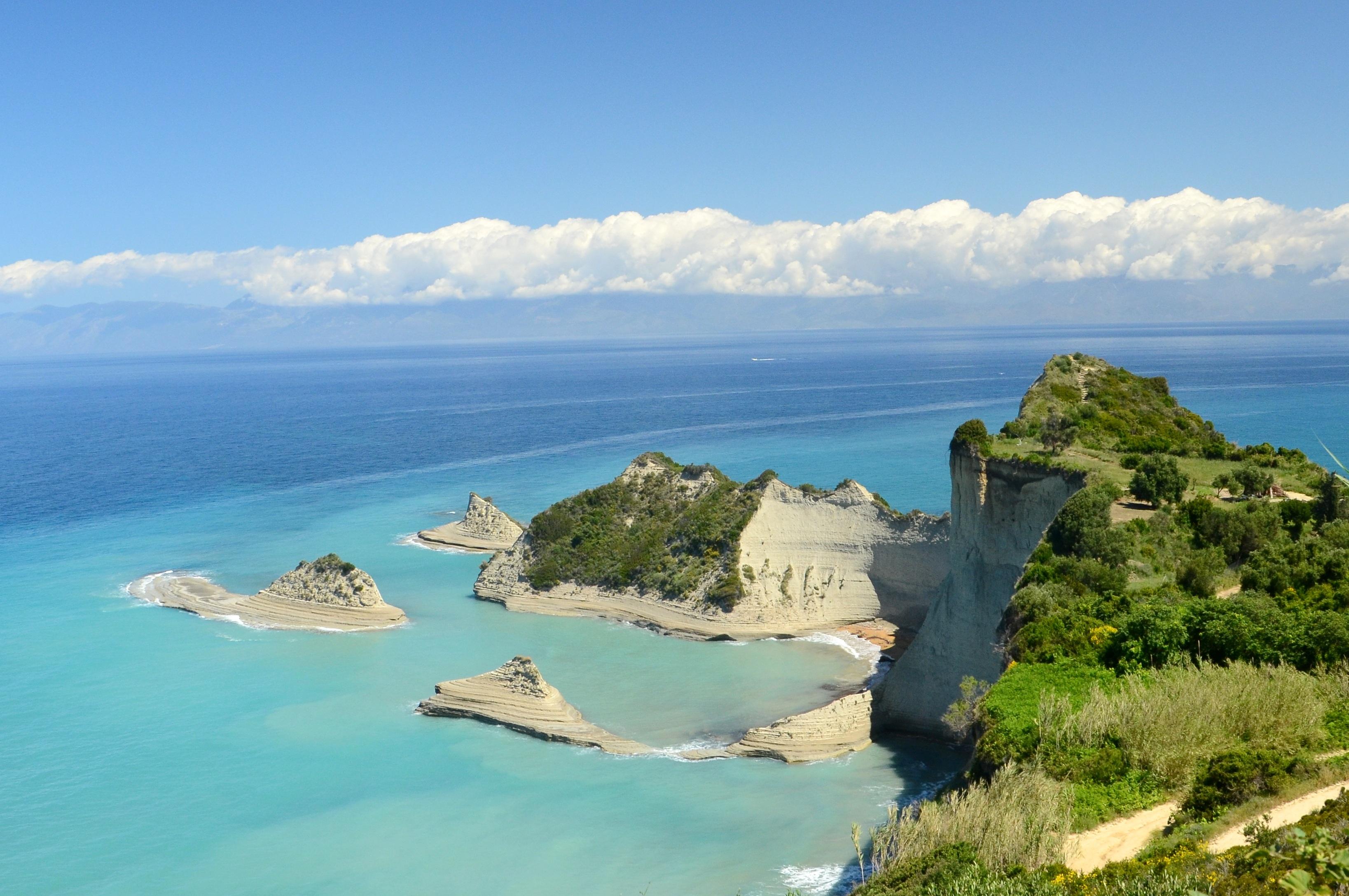 naturaleza oceano horizonte apuntalar ver vacaciones acantilado ensenada baha isla terreno rocas promontorio grecia archipilago caribe
