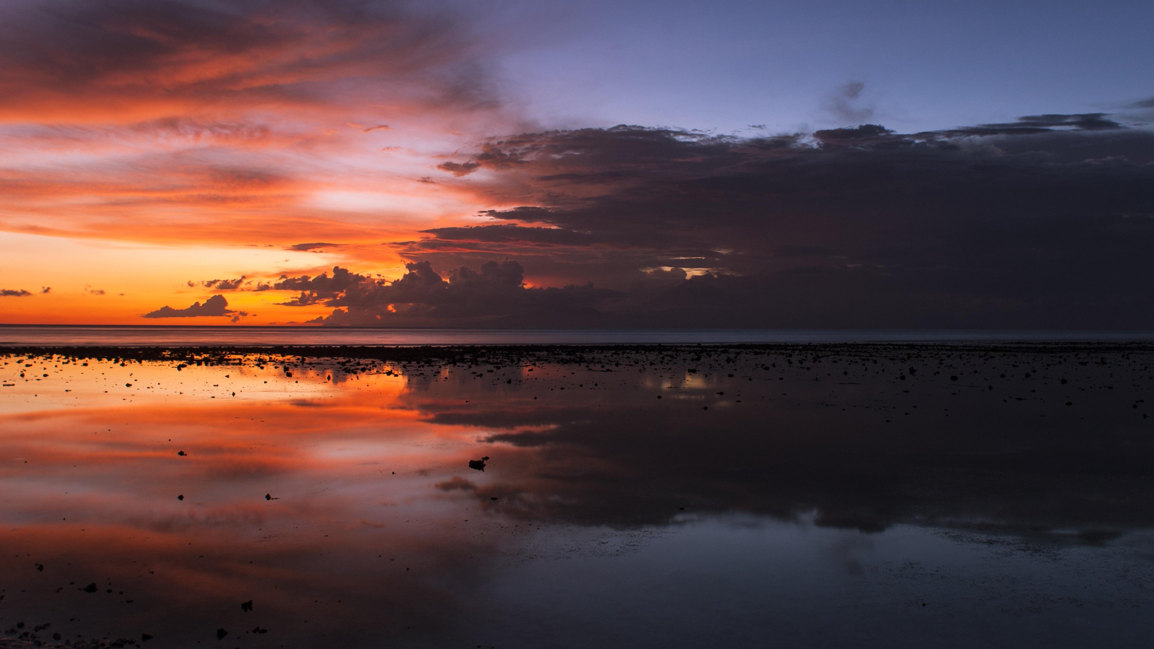 Gambar Pemandangan Lautan Horison Awan Langit Matahari Terbit