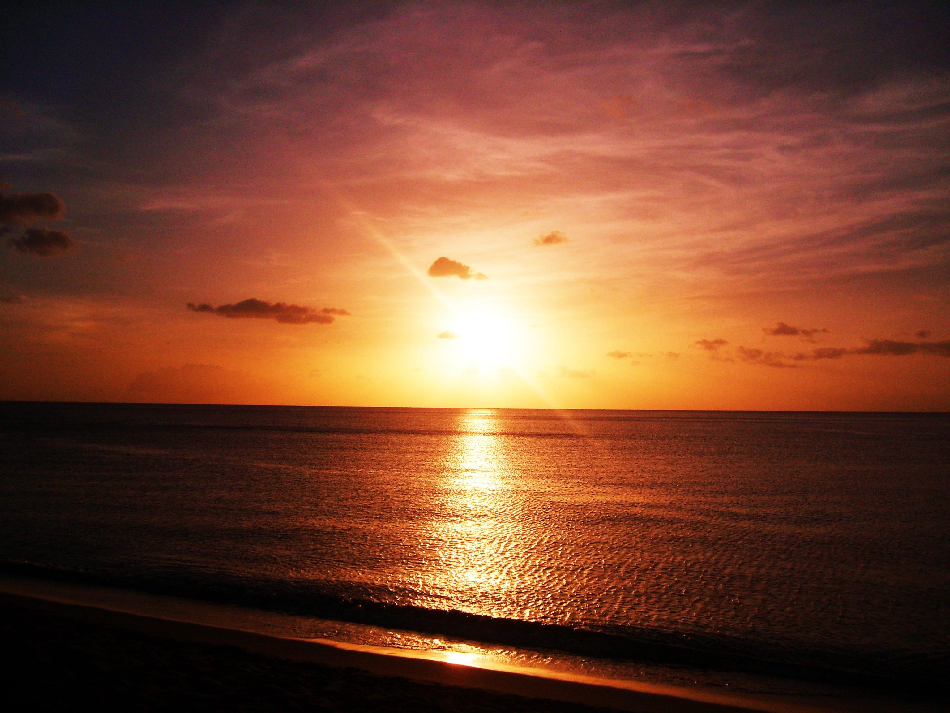 Gambar Pantai Pemandangan Lautan Horison Matahari Terbit