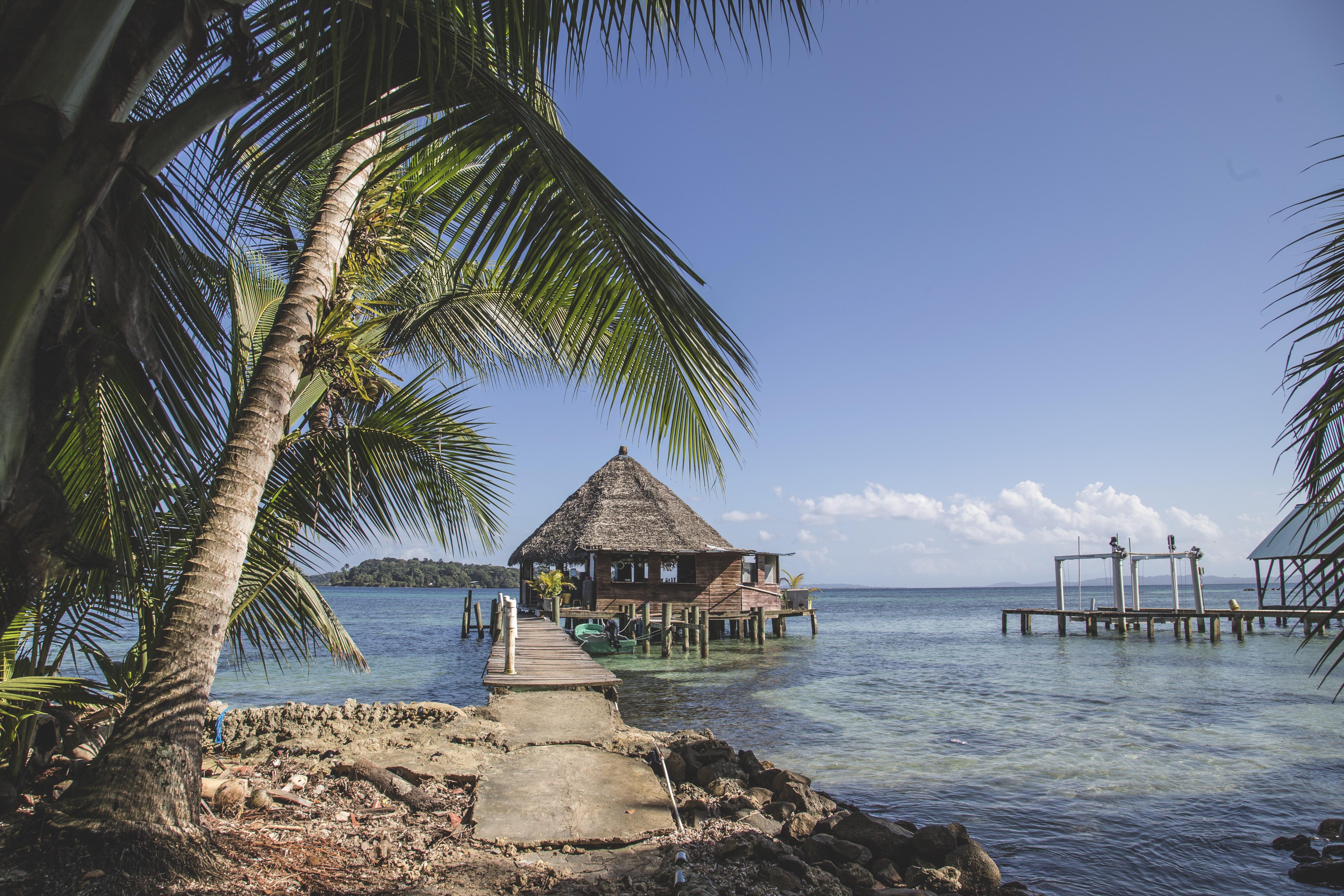 Strandhaus karibik holz  Kostenlose foto : Strand, Landschaft, Meer, Küste, Baum, Wasser ...