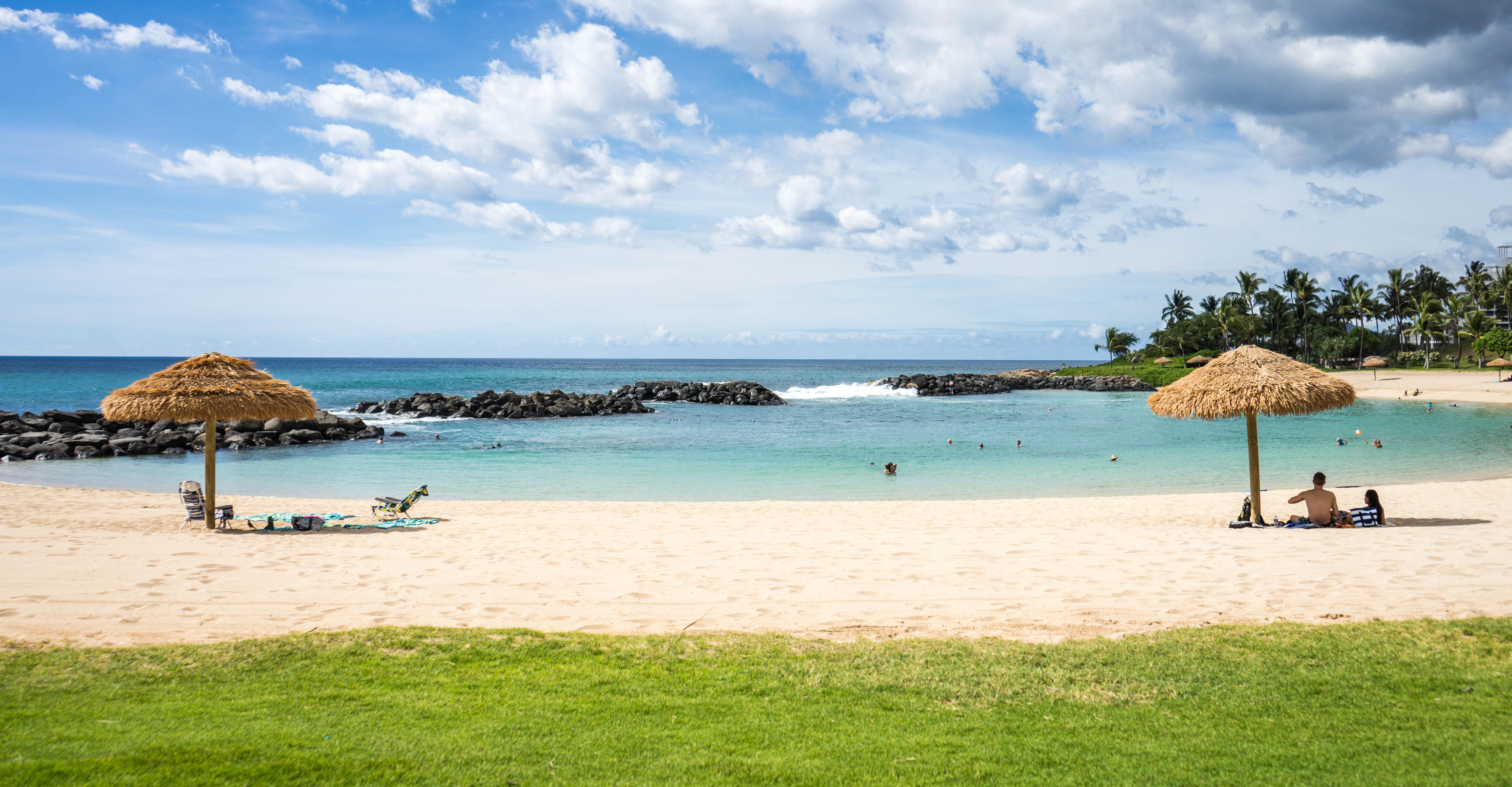 Vacation Travel Cove Seascape Lagoon Bay Island Body Of Water Blue Sky Sunny Clouds Caribbean Tropics Cape Huts Marriott Hawaii Beach