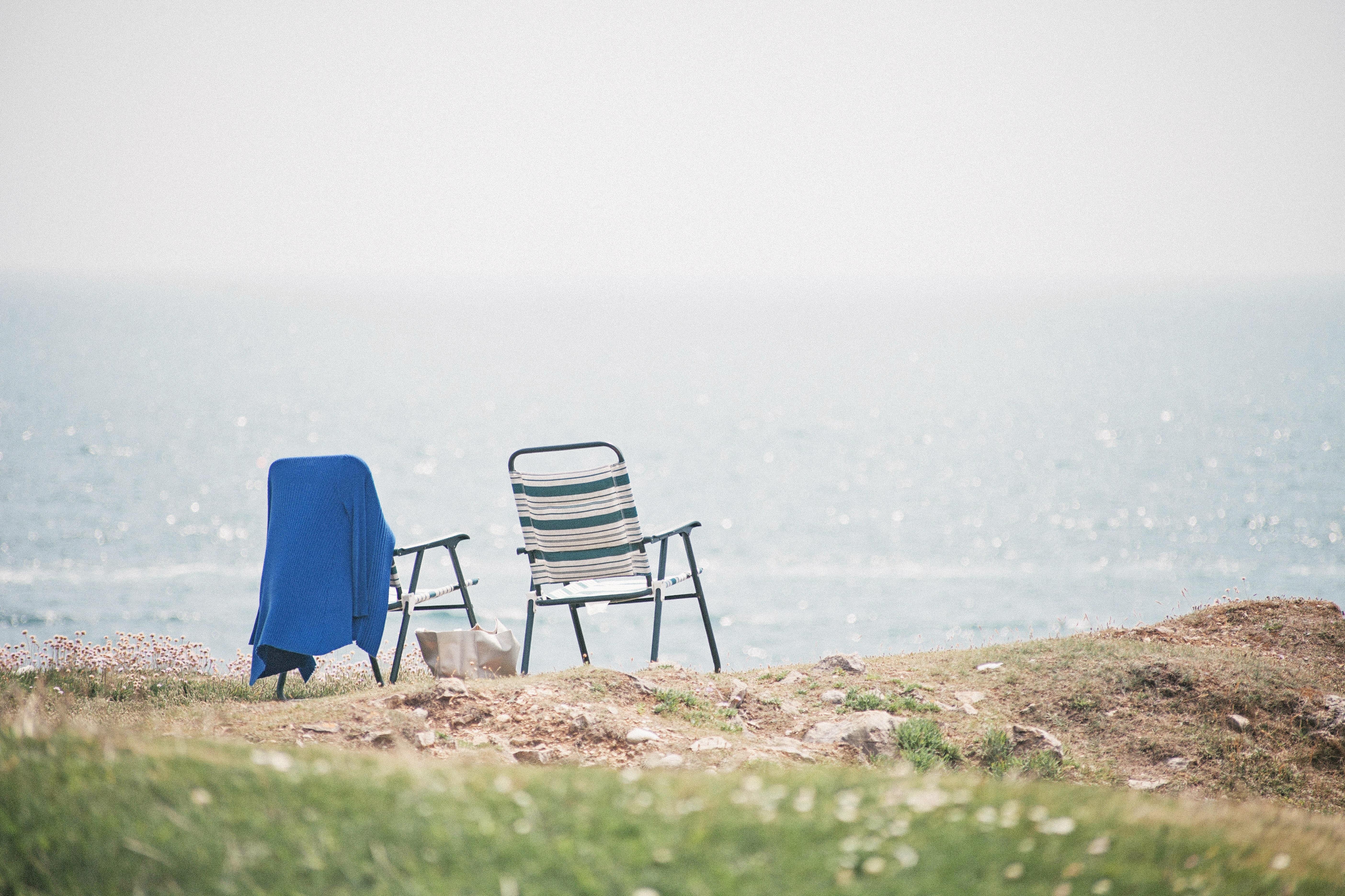 Strand Landschaft Meer Küste Wasser draussen Ozean Horizont Morgen Ufer Sessel Ferien Küste Entspannen Sie sich