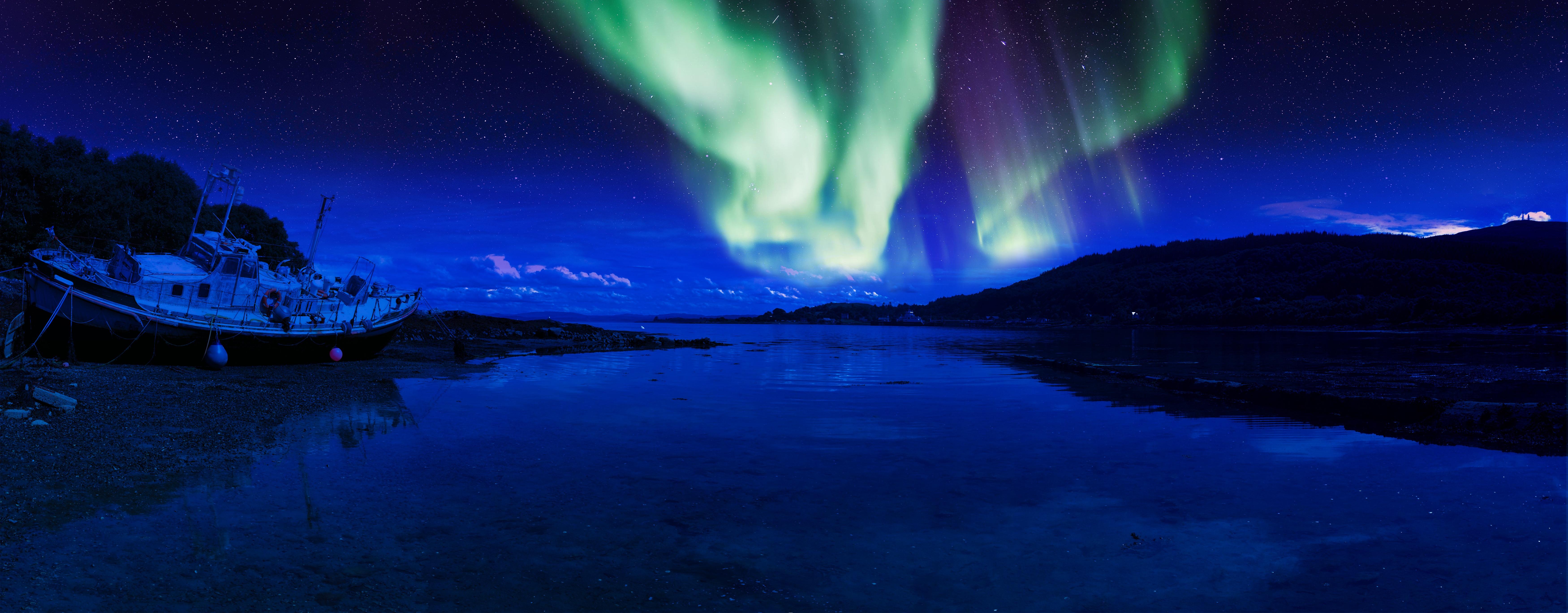 Beach Night S Atmosphere Aurora