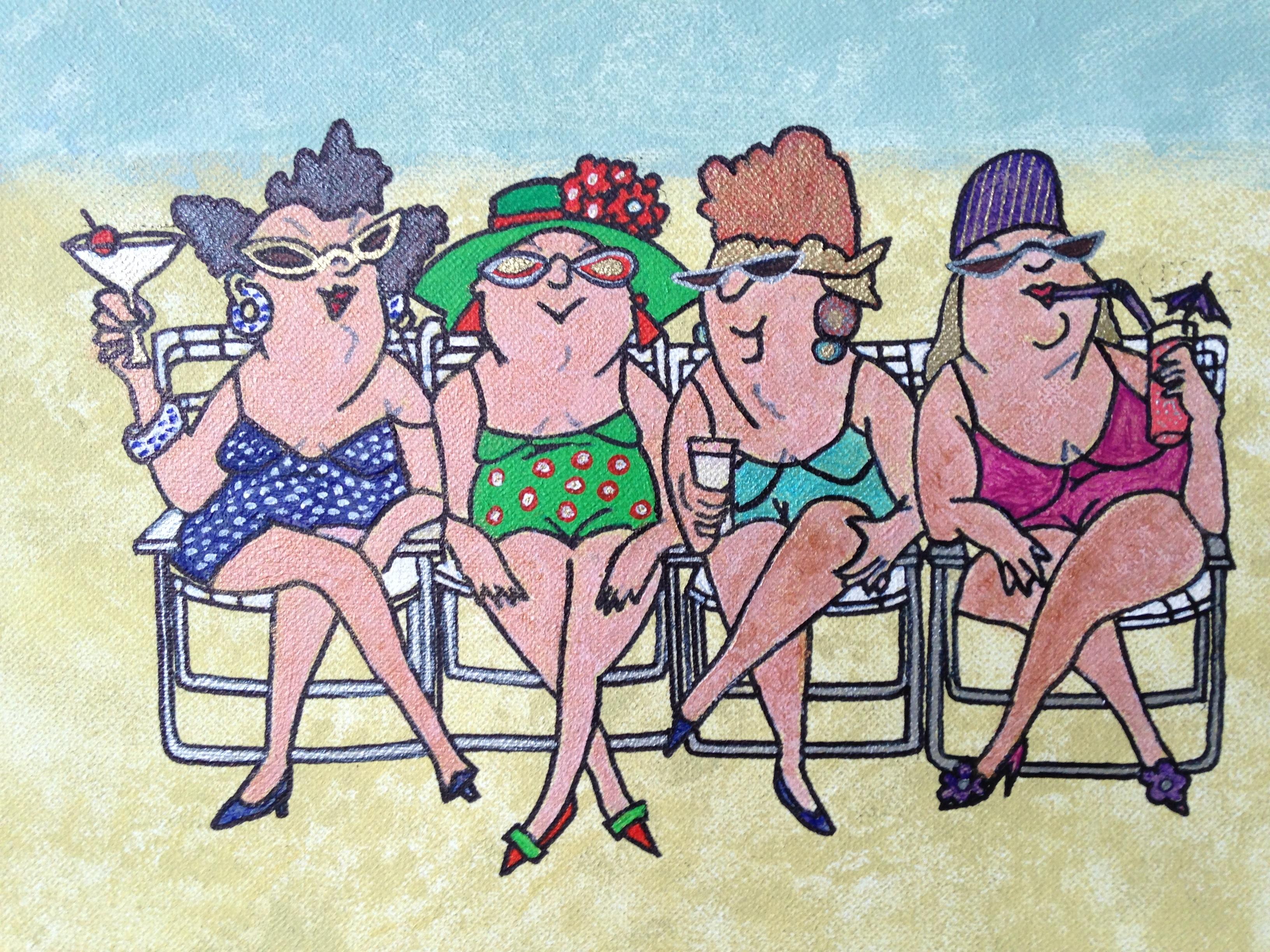 Gambar Pantai Orang Orang Lukisan Seni Sketsa Ilustrasi