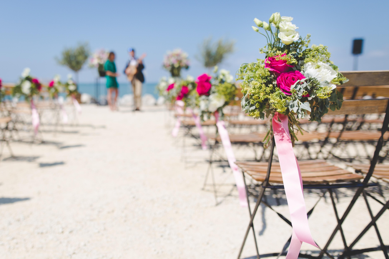 Kostenlose Foto Strand Sand Blume Sessel Gehweg Hochzeit