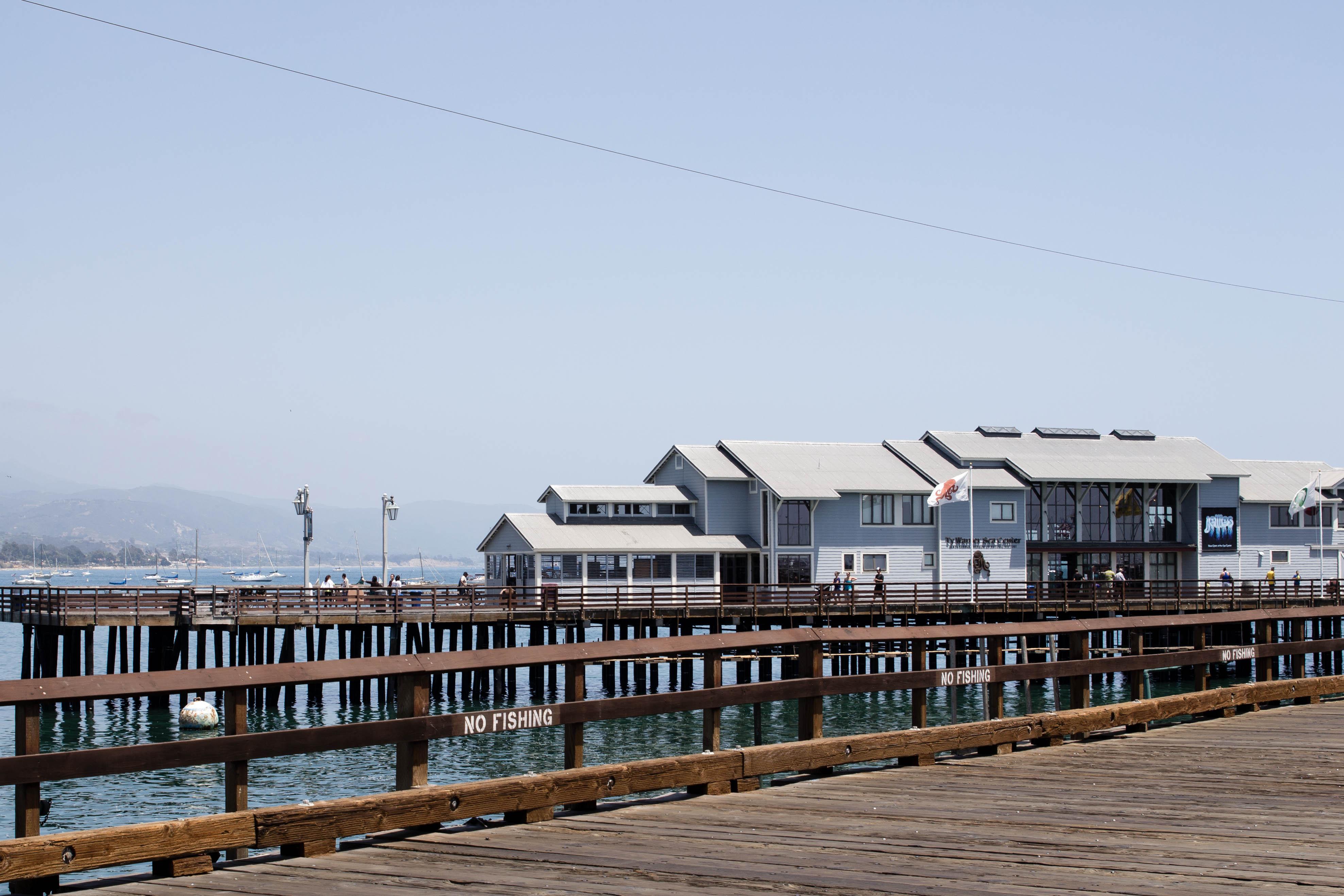 Beach Sea Coast Dock Boardwalk Town Pier Walkway Vehicle Marina California Santabarbara Residential Area
