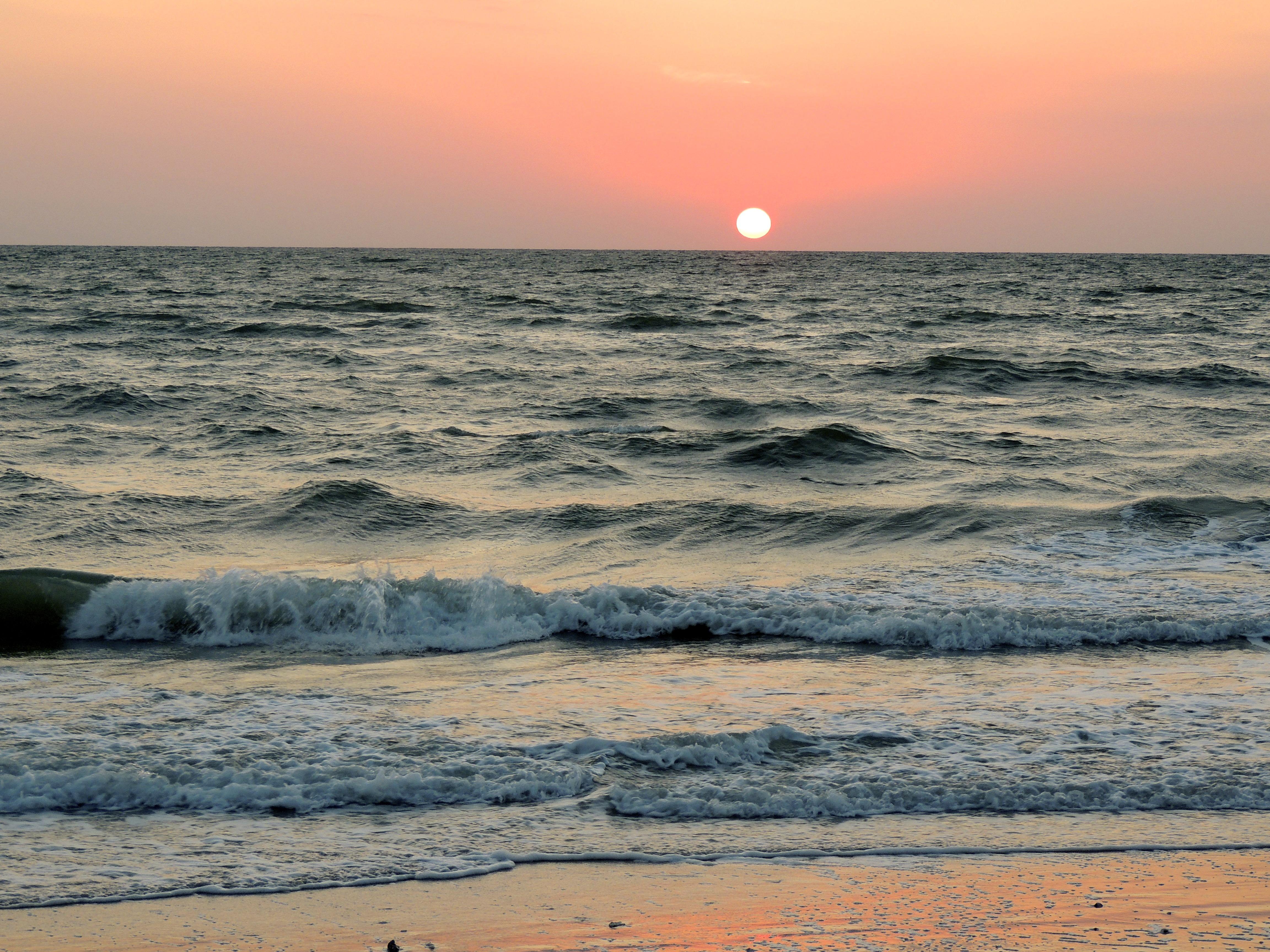Beach Sea Coast Nature Sand Ocean Horizon Sky Sun Sunrise Sunset Sunlight Morning S Wave Dawn