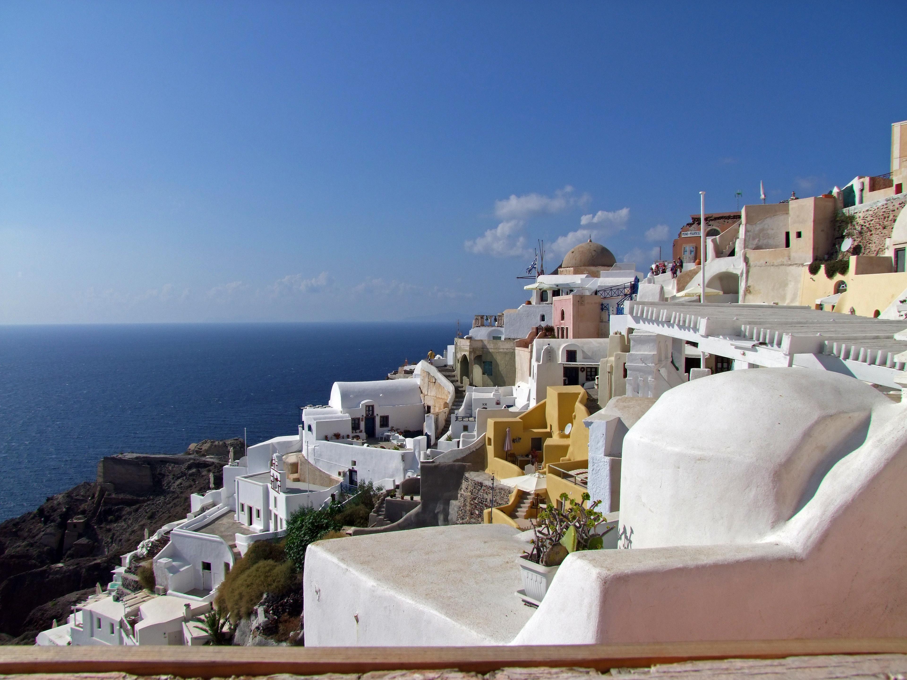 playa mar costa oceano cielo pueblo ver vacaciones alto fiesta turismo santorini hogares grecia tejados