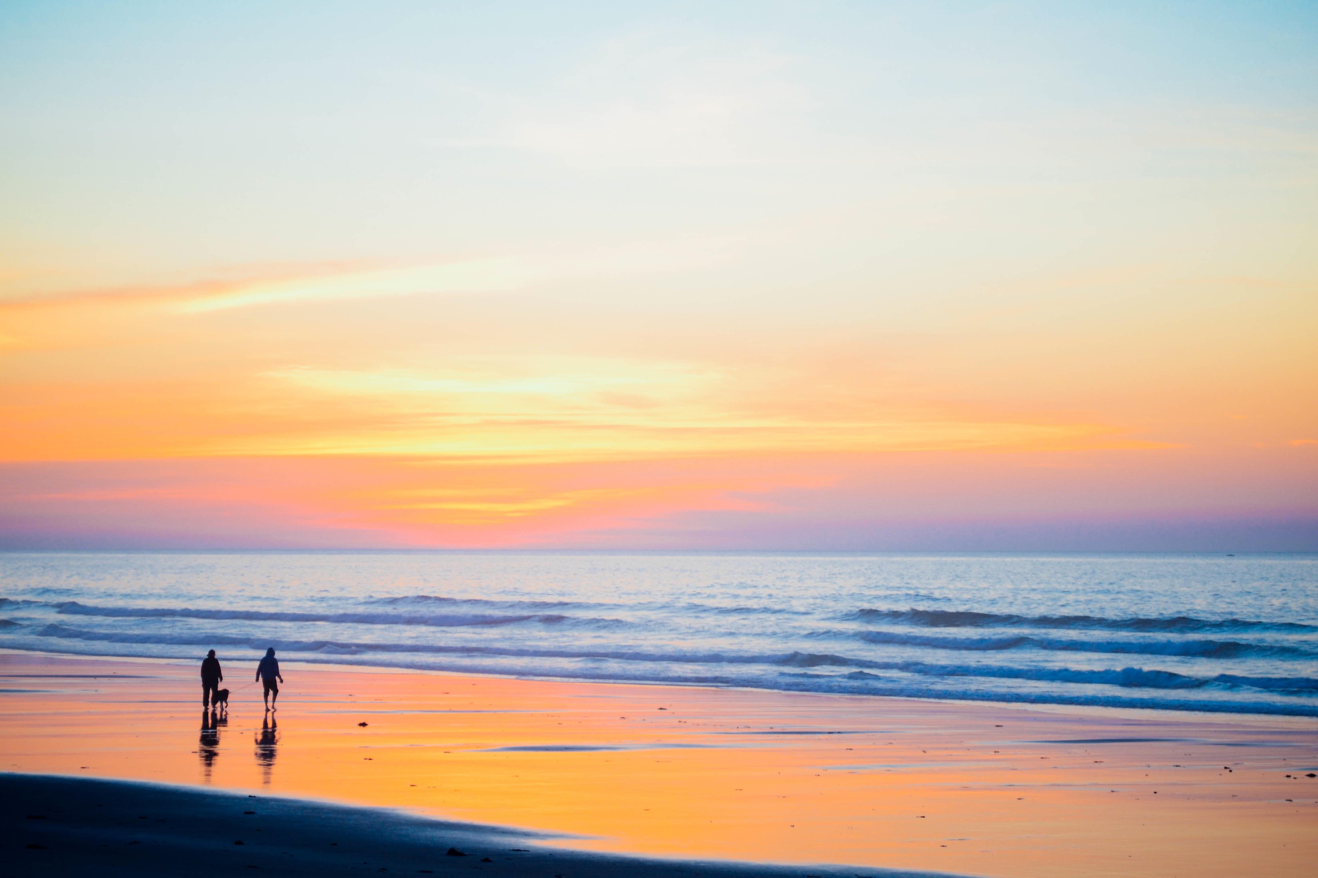 картинки море закат пляж двое плотно обтягивает
