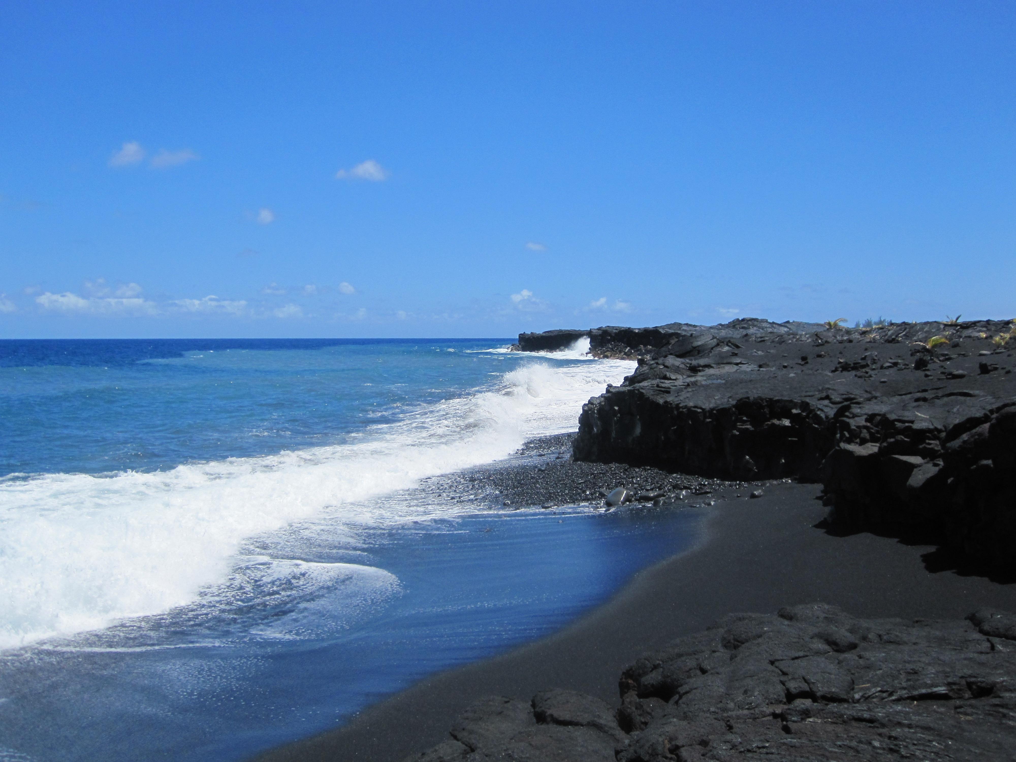 Beach Sea Coast Rock Ocean Horizon White Shore Wave Cliff Cove Holiday Volcano Bay Blue Hawaii