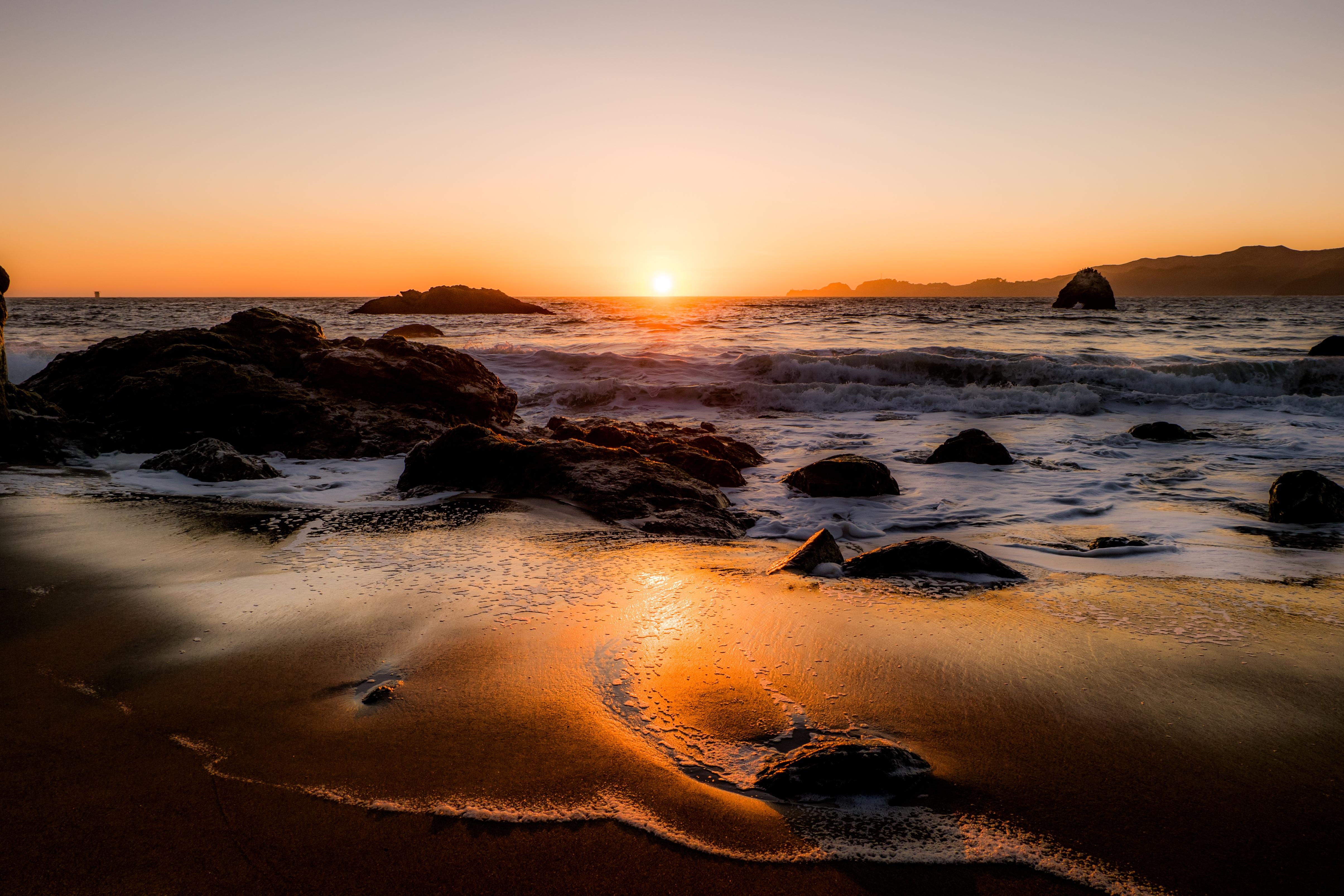 пляж берег закат живые картинки созданные