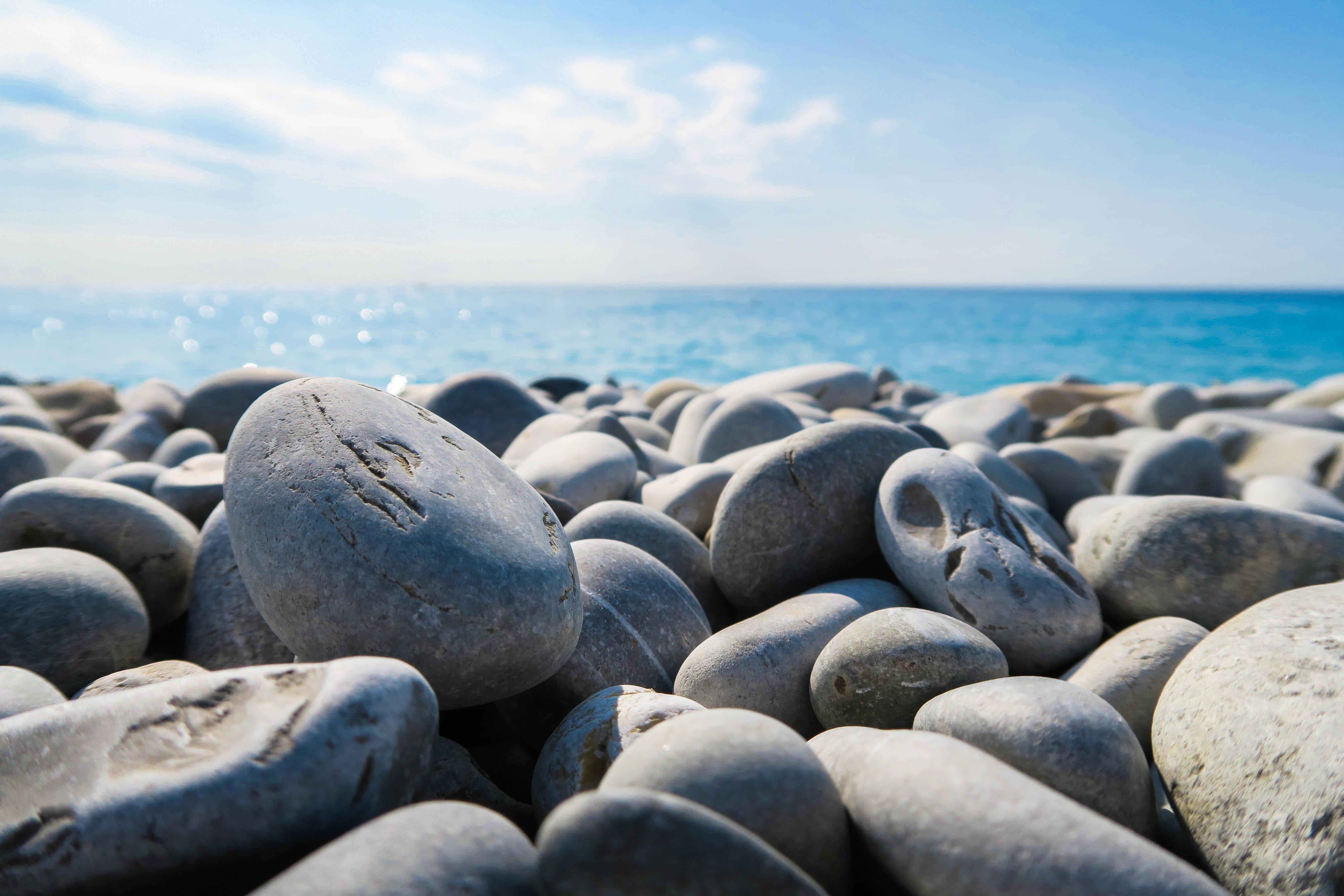 Free Images Beach Sea Coast Sand Rock Ocean Shore Pebble Blue Material Stones Pebbles Breakwater Wind Wave 5350x3567 1114334 Free Stock Photos Pxhere Rocks stones horizon coast sand sea
