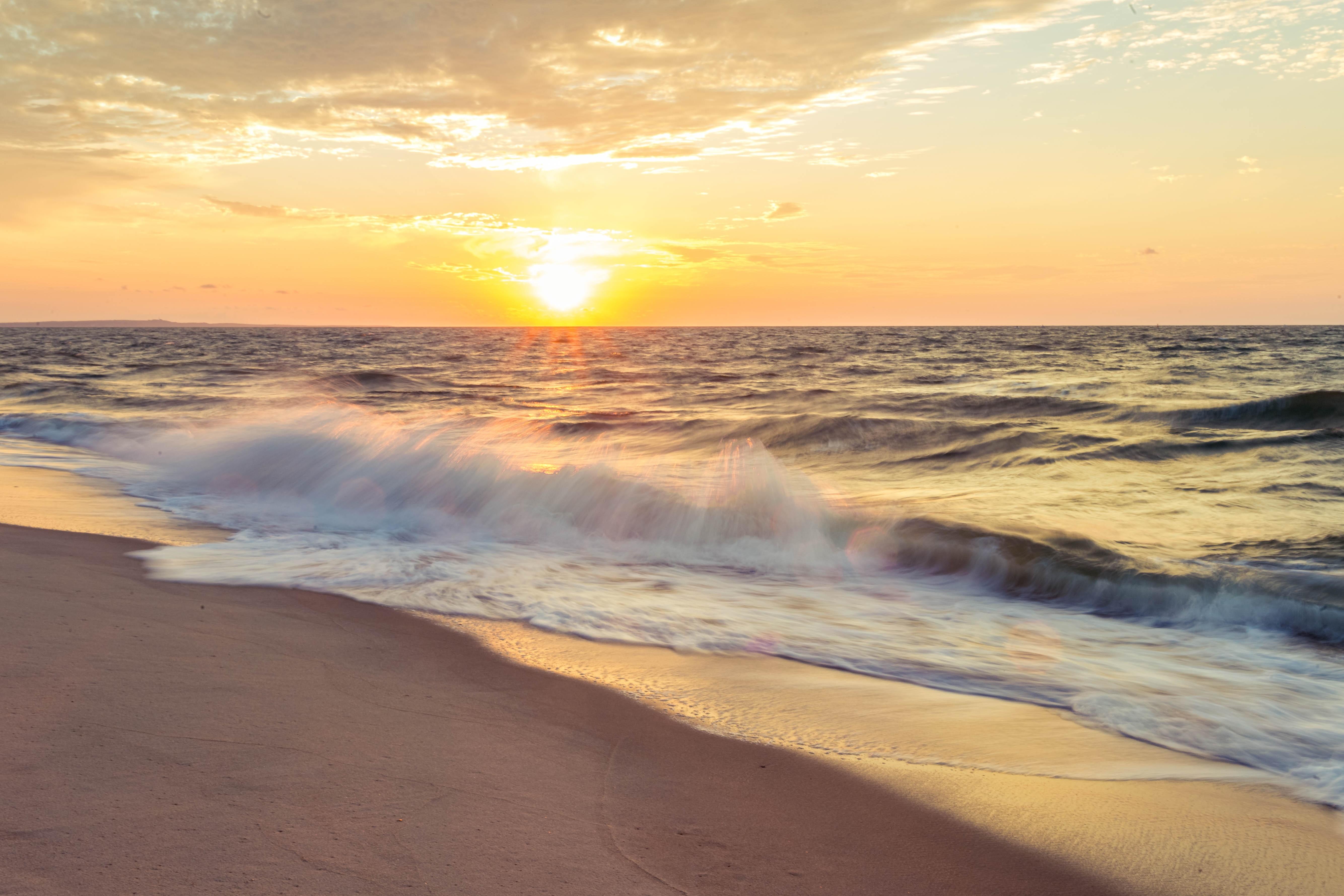 Gambar Pantai Alam Pasir Lautan Horison Awan Matahari Terbit
