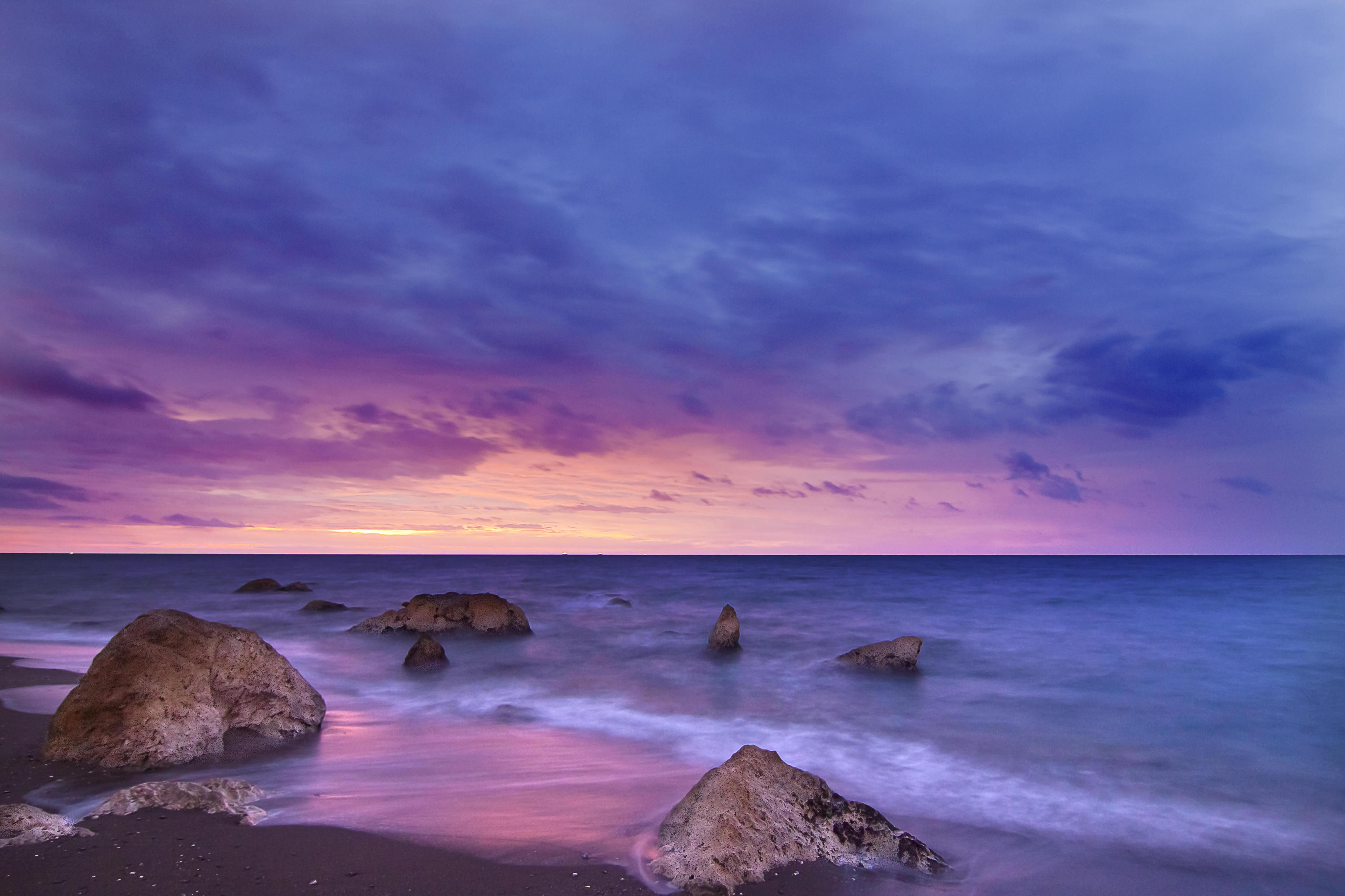 камни сумерки вечер море бесплатно