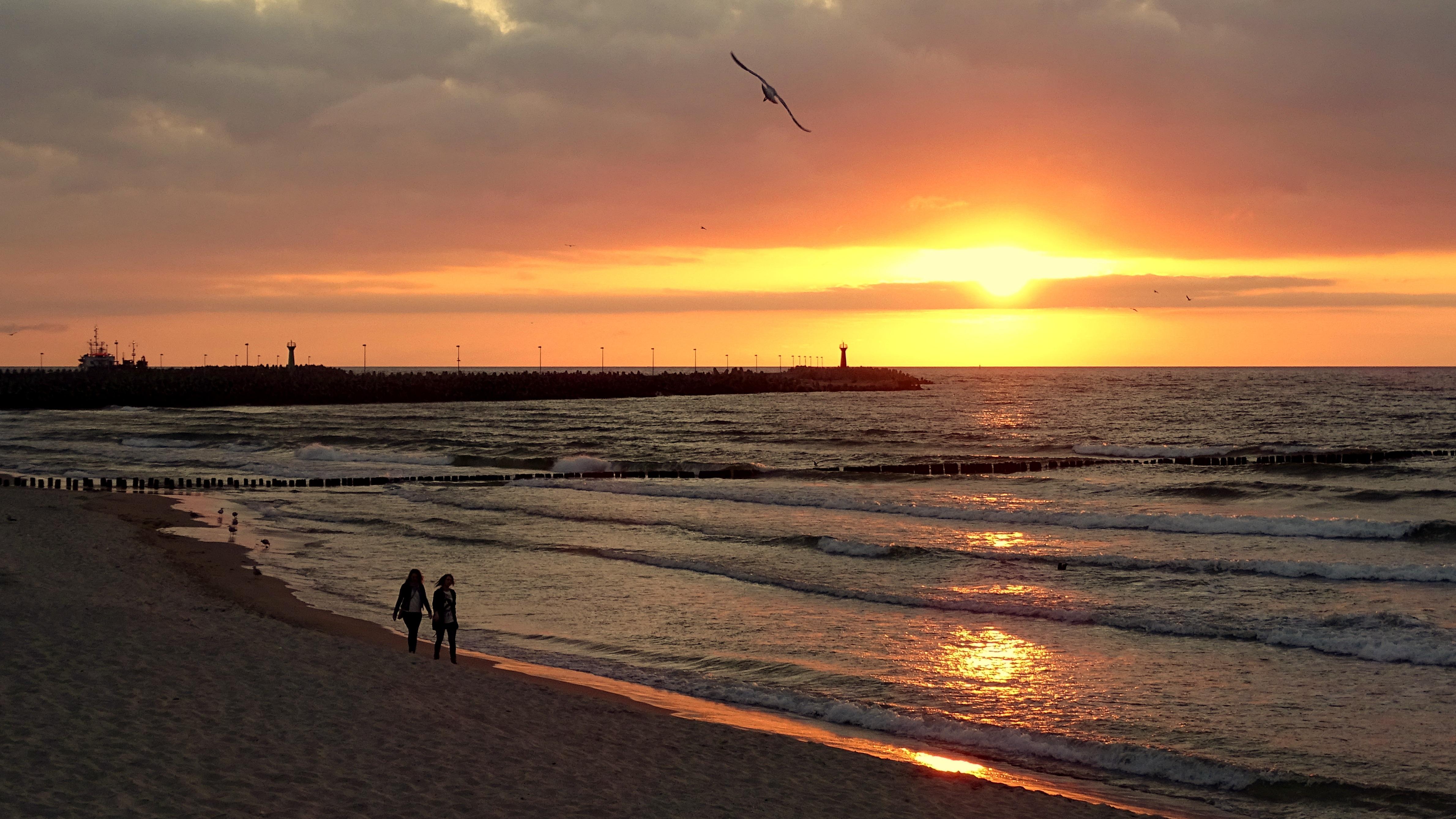 Free Images : sand, ocean, horizon, sunrise, sunset ...