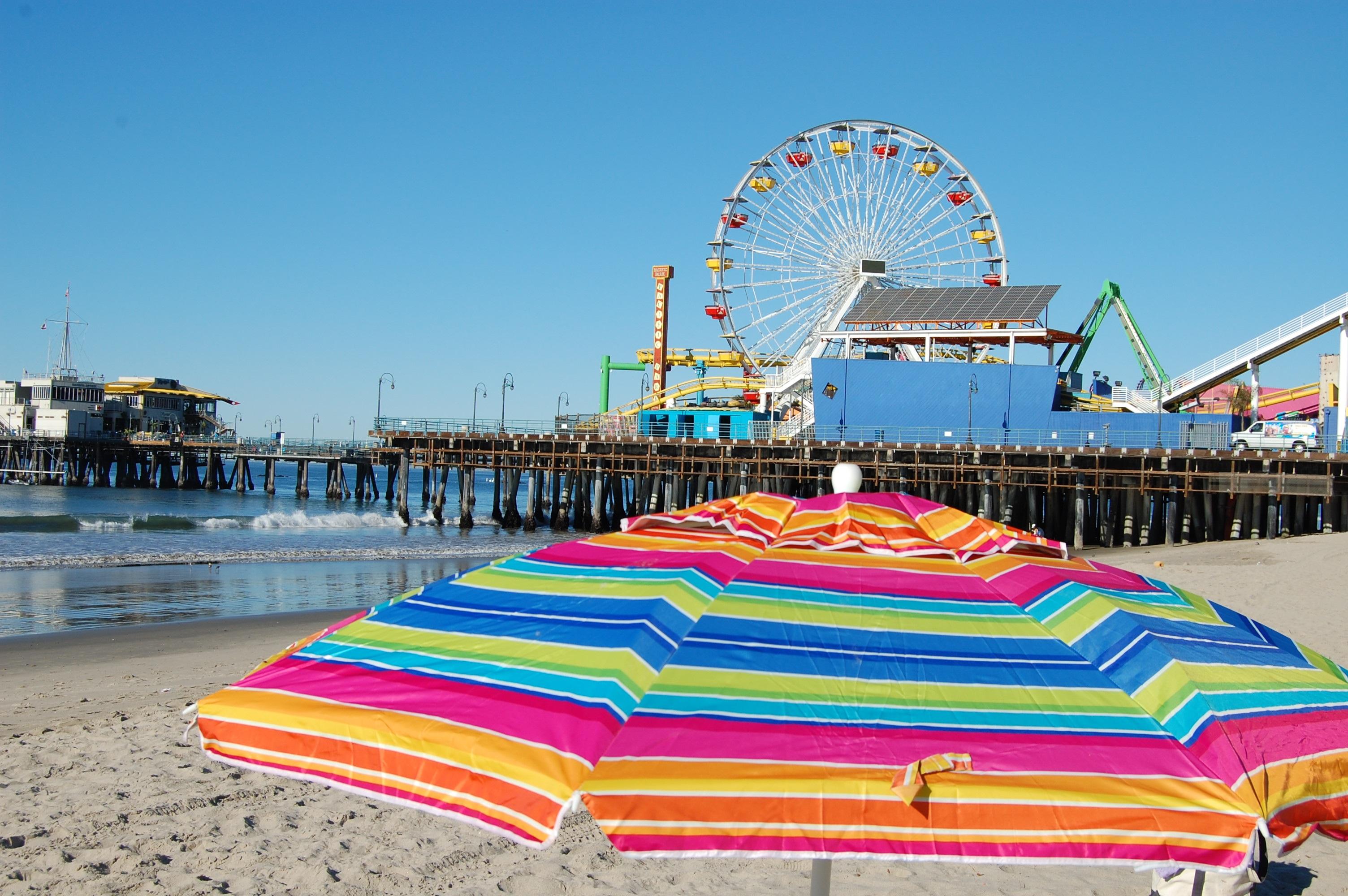 Beach Sea Coast Water Sand Ocean Sky Wheel Pier Summer Vacation Travel Relax Amut Park Umbrella