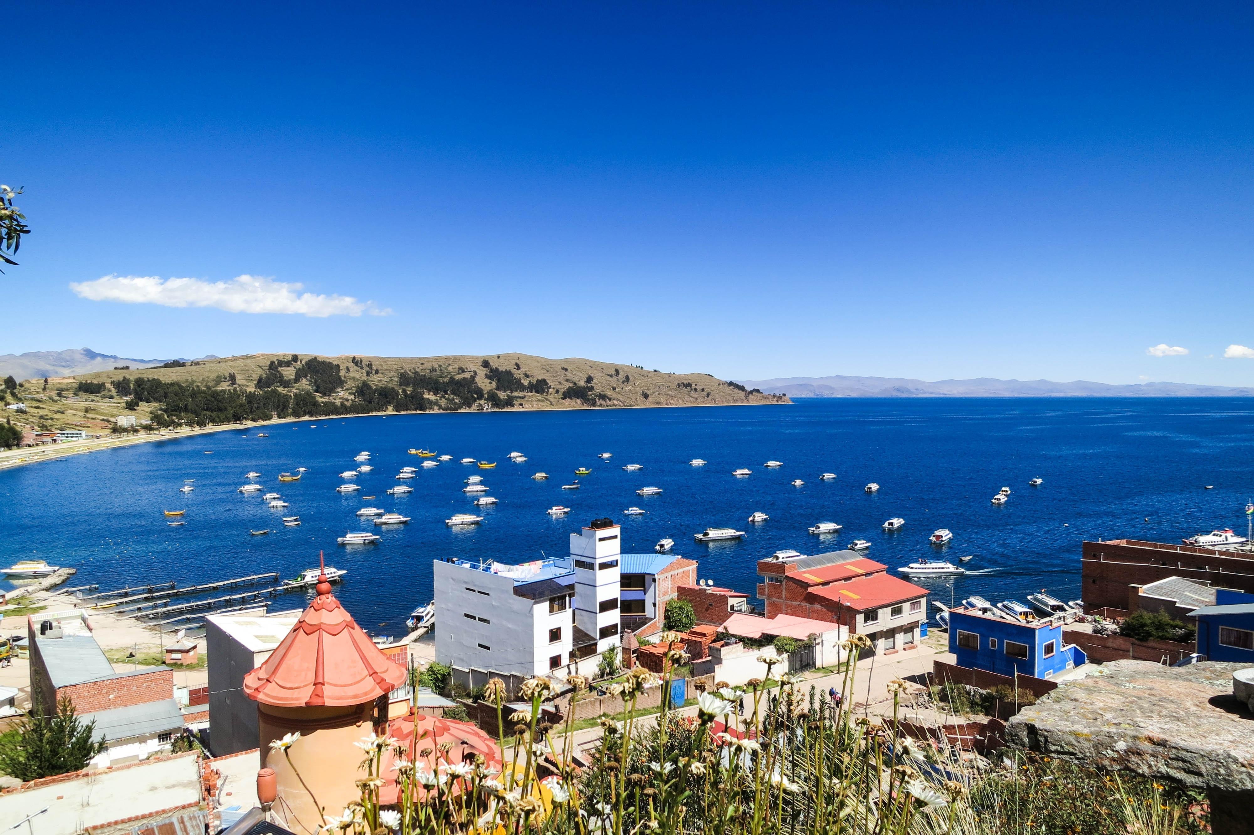 Beach Sea Coast Water Sky Town Panorama Vacation Bay Marina Buildings Resort Mountains Boats Copacabana Bolivia
