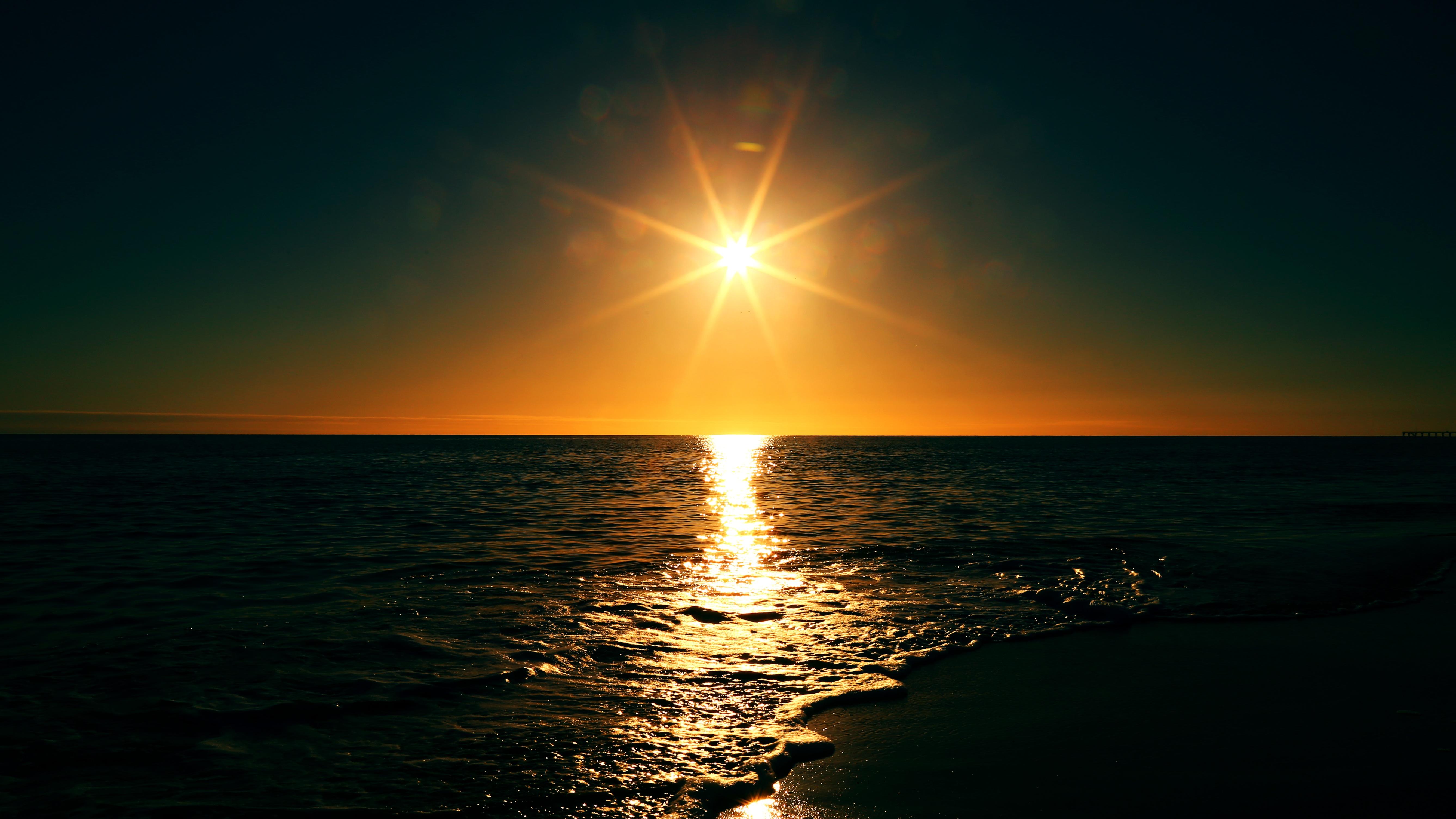 Free Images : beach, sea, ocean, horizon, sun, sunrise, sunset ...